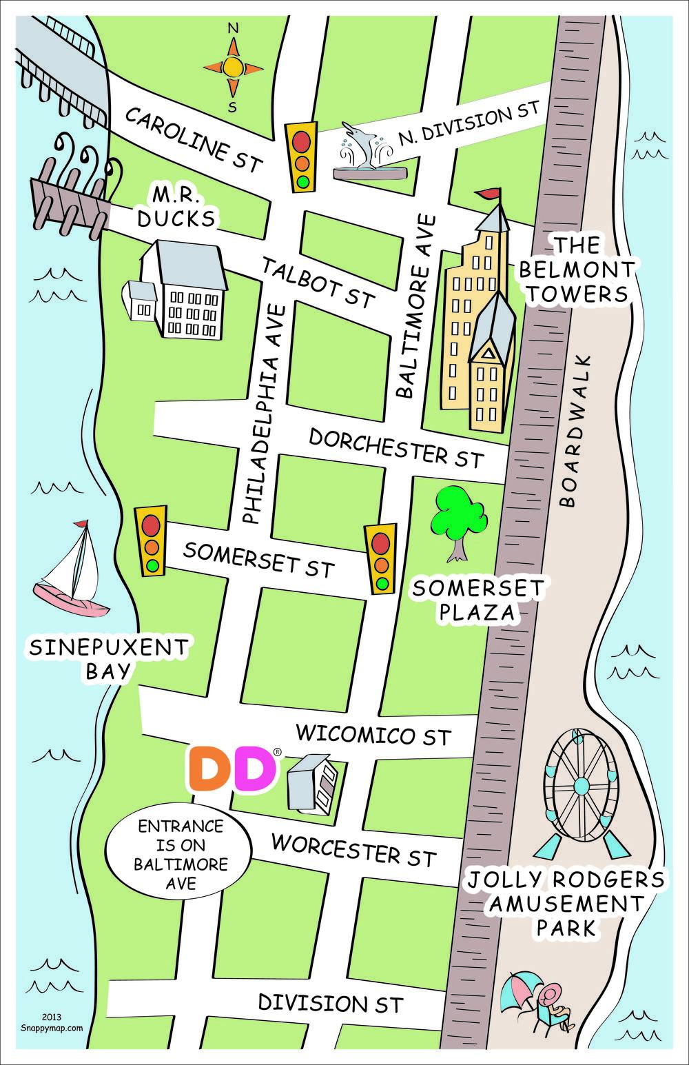 Ocean City, Md Discovery Map Style | Fun Business Map | Pinterest - Printable Street Map Ocean City Nj
