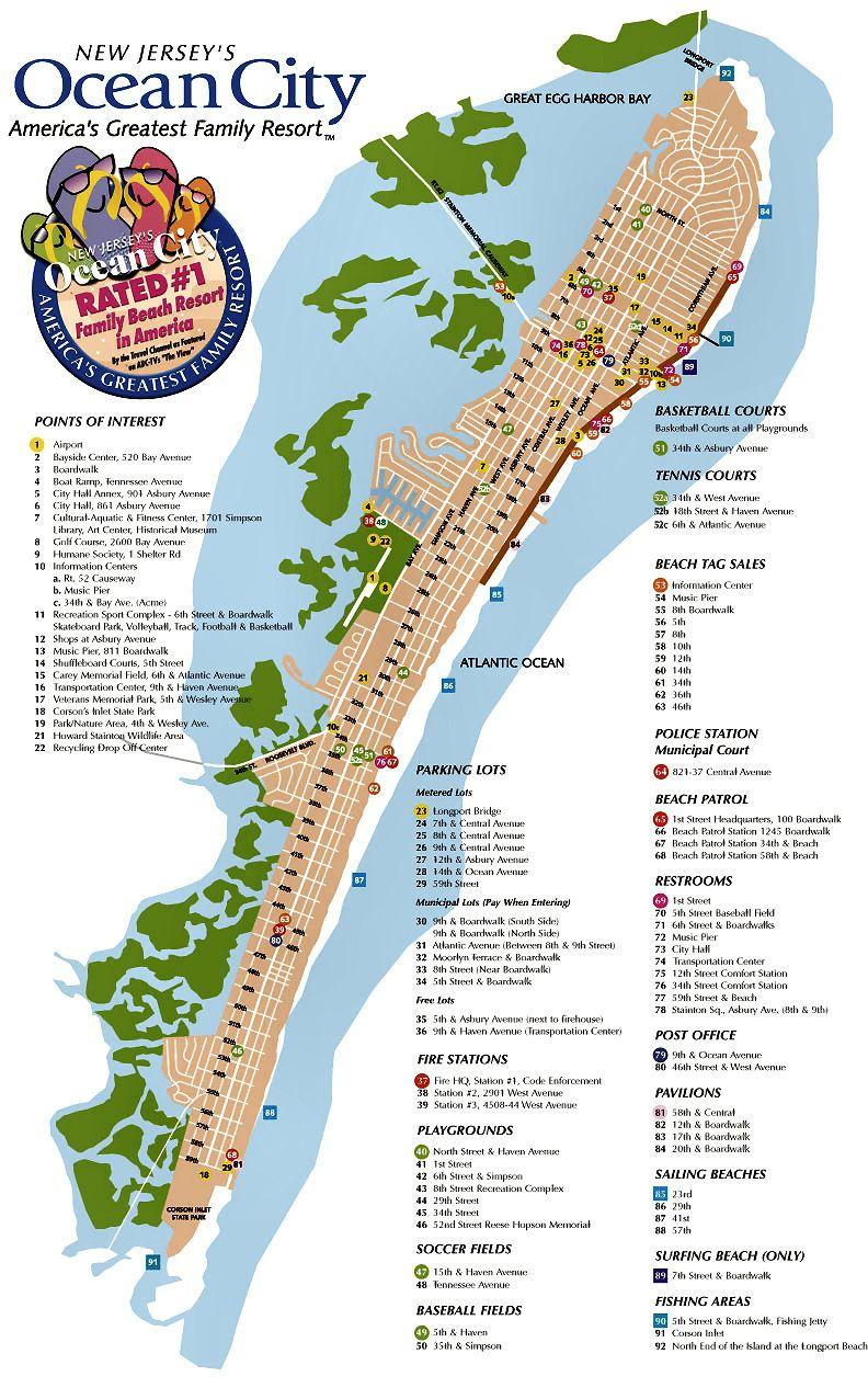 Ocean City Nj Street Map | Ocean City Nj | Pinterest | Ocean City - Printable Street Map Ocean City Nj