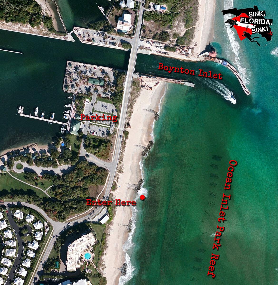 Ocean Inlet Park | Boynton Beach Dive Site - Inlet Beach Florida Map