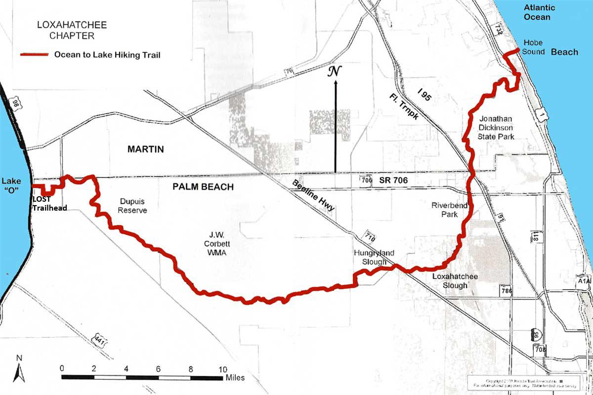 Ocean To Lake Hiking Trail - Florida Hiking Trails Map