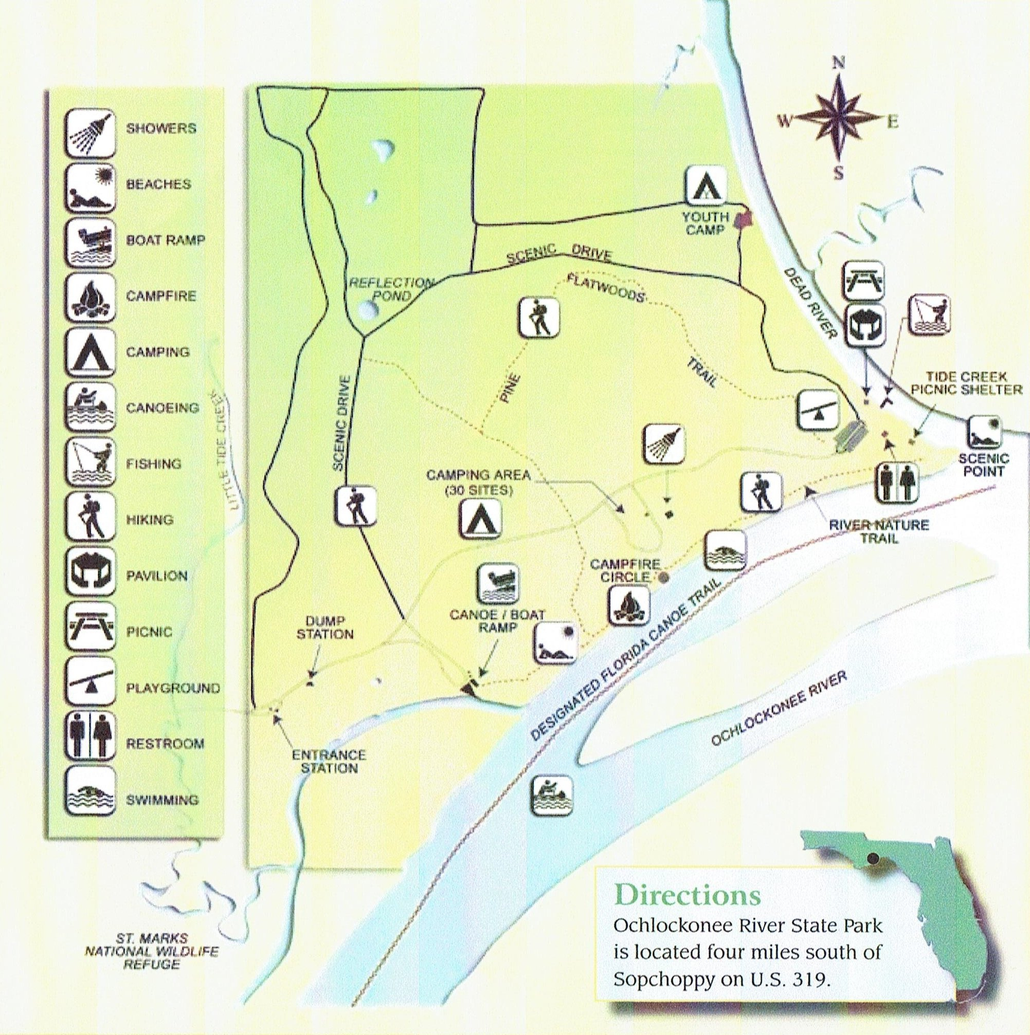 Ochlockonee River State Park - Camping - Places To Stay - Carrabelle - Camping In Florida State Parks Map