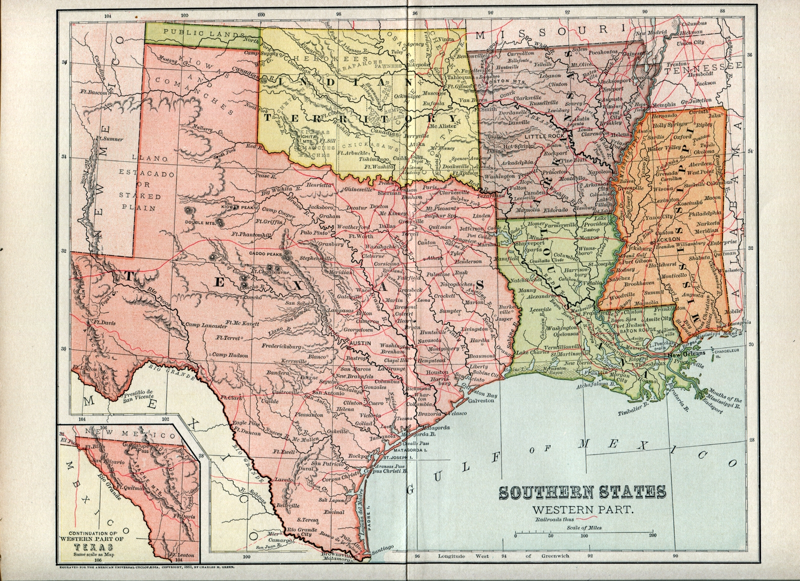 Oklahoma Arkansas Border Map And Travel Information | Download Free - Map Of Oklahoma And Texas Together