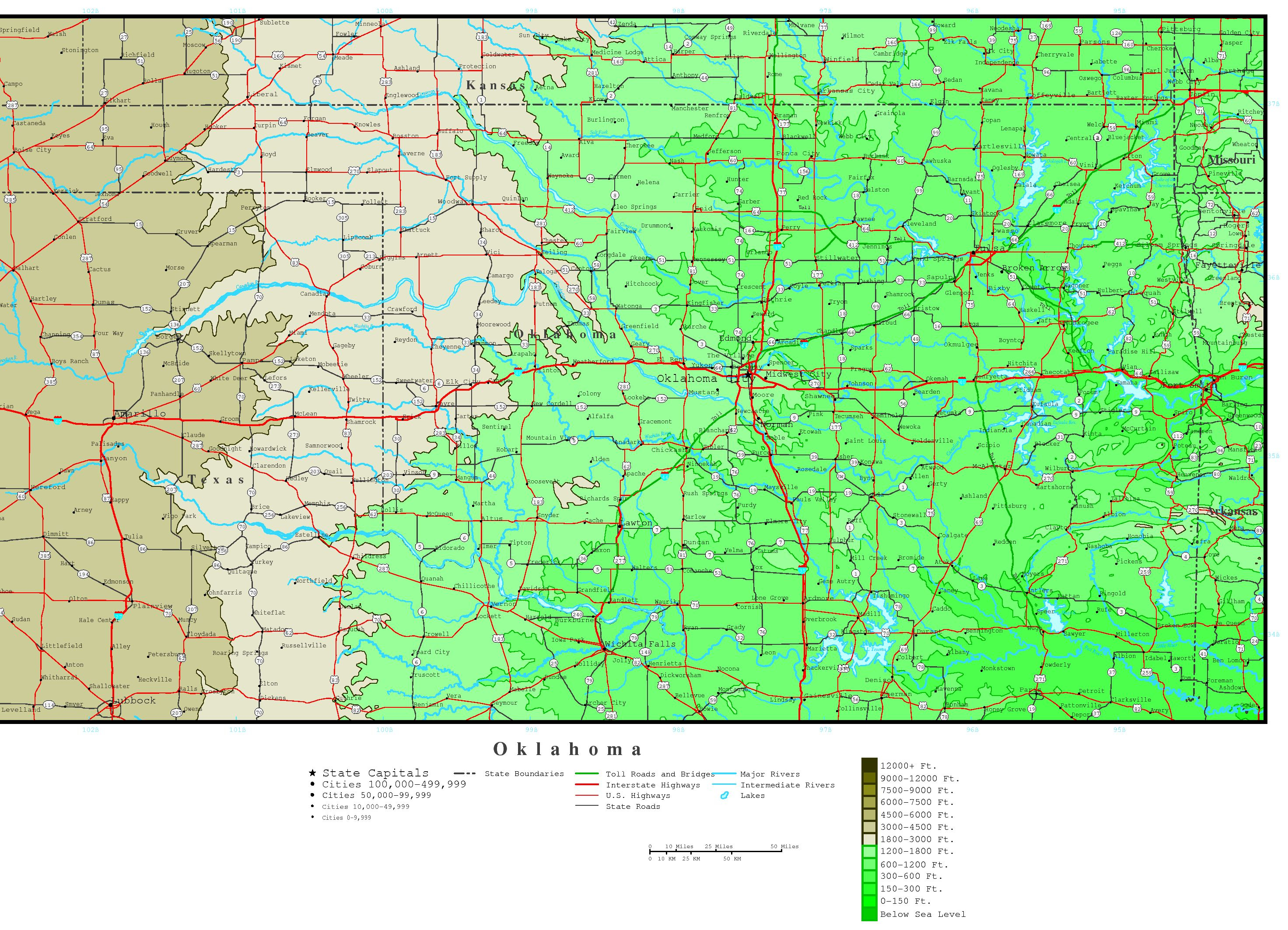 Oklahoma Elevation Map - Printable Map Of Norman Ok