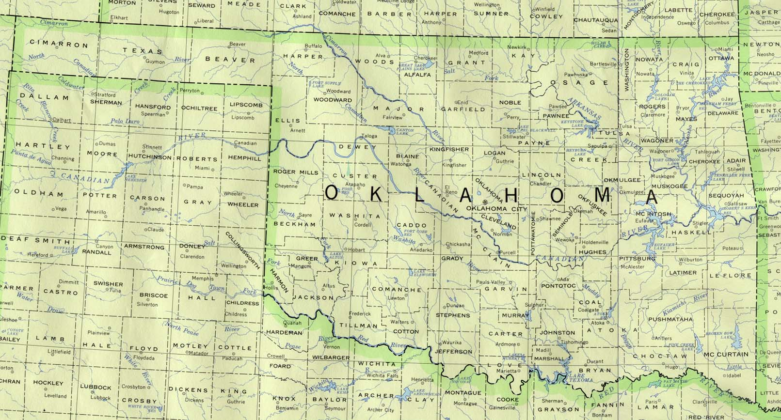Oklahoma Maps - Perry-Castañeda Map Collection - Ut Library Online - Map Of Oklahoma And Texas Together
