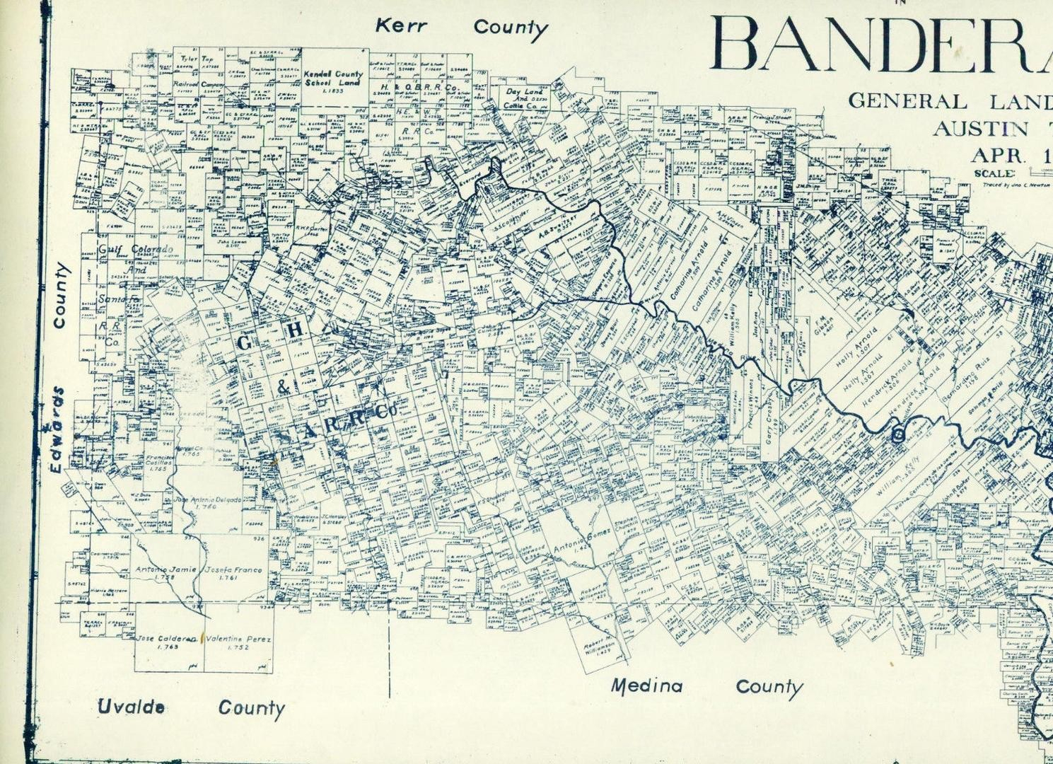 Old Bandera County Texas General Land Office Owner Map Medina Pipe - Pipe Creek Texas Map