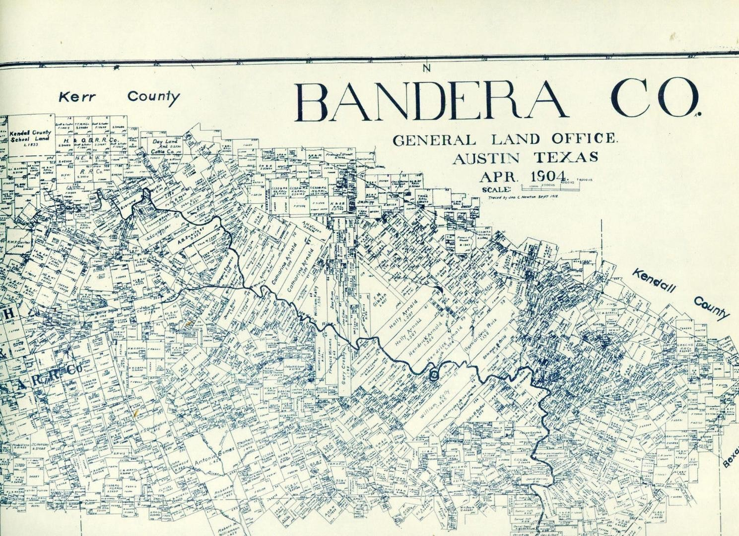 Old Bandera County Texas General Land Office Owner Map Medina Pipe - Texas General Land Office Maps