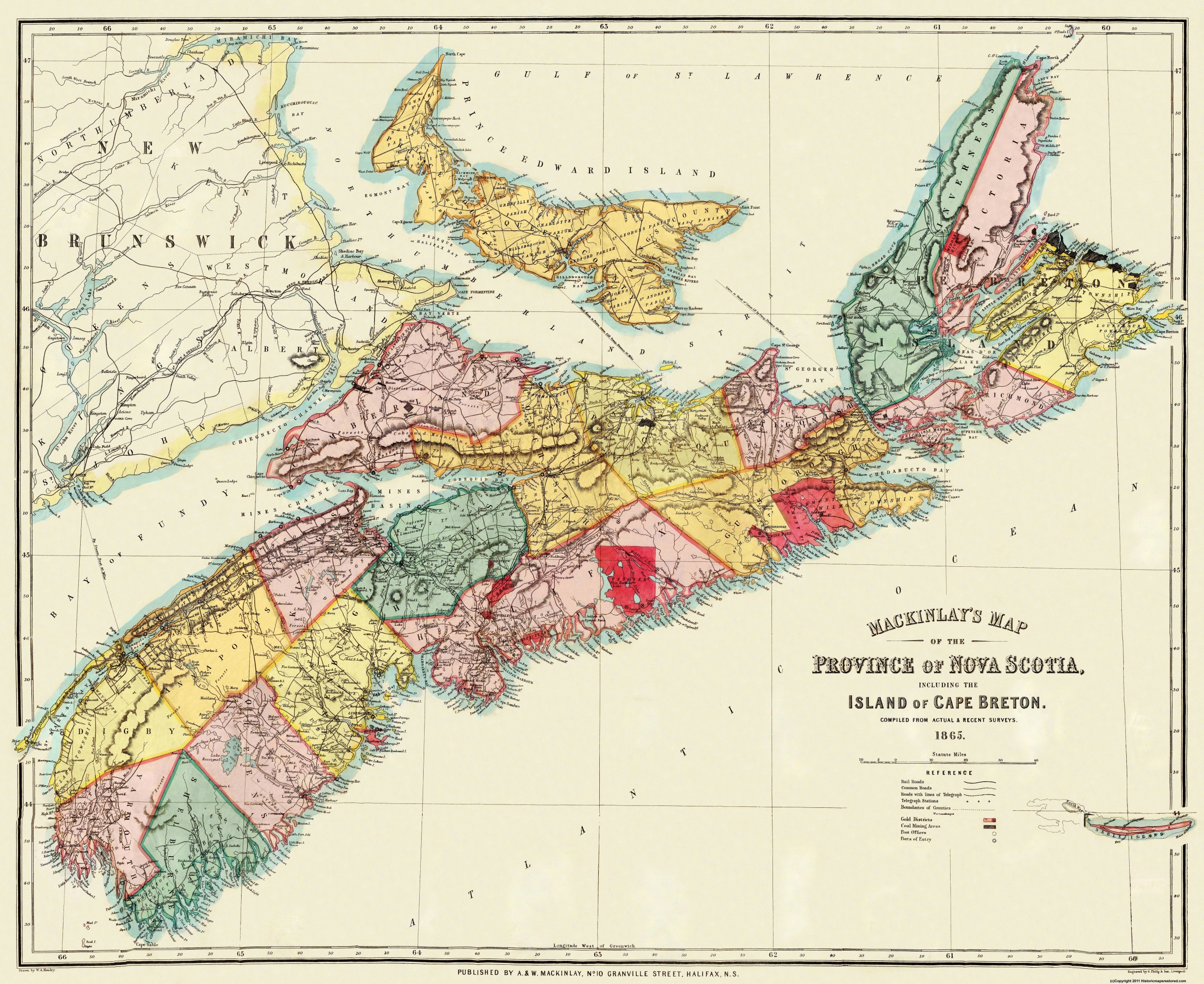 Old Canada Map - Nova Scotia, Island Of Cape Breton 1865 - Printable Map Of Cape Breton Island