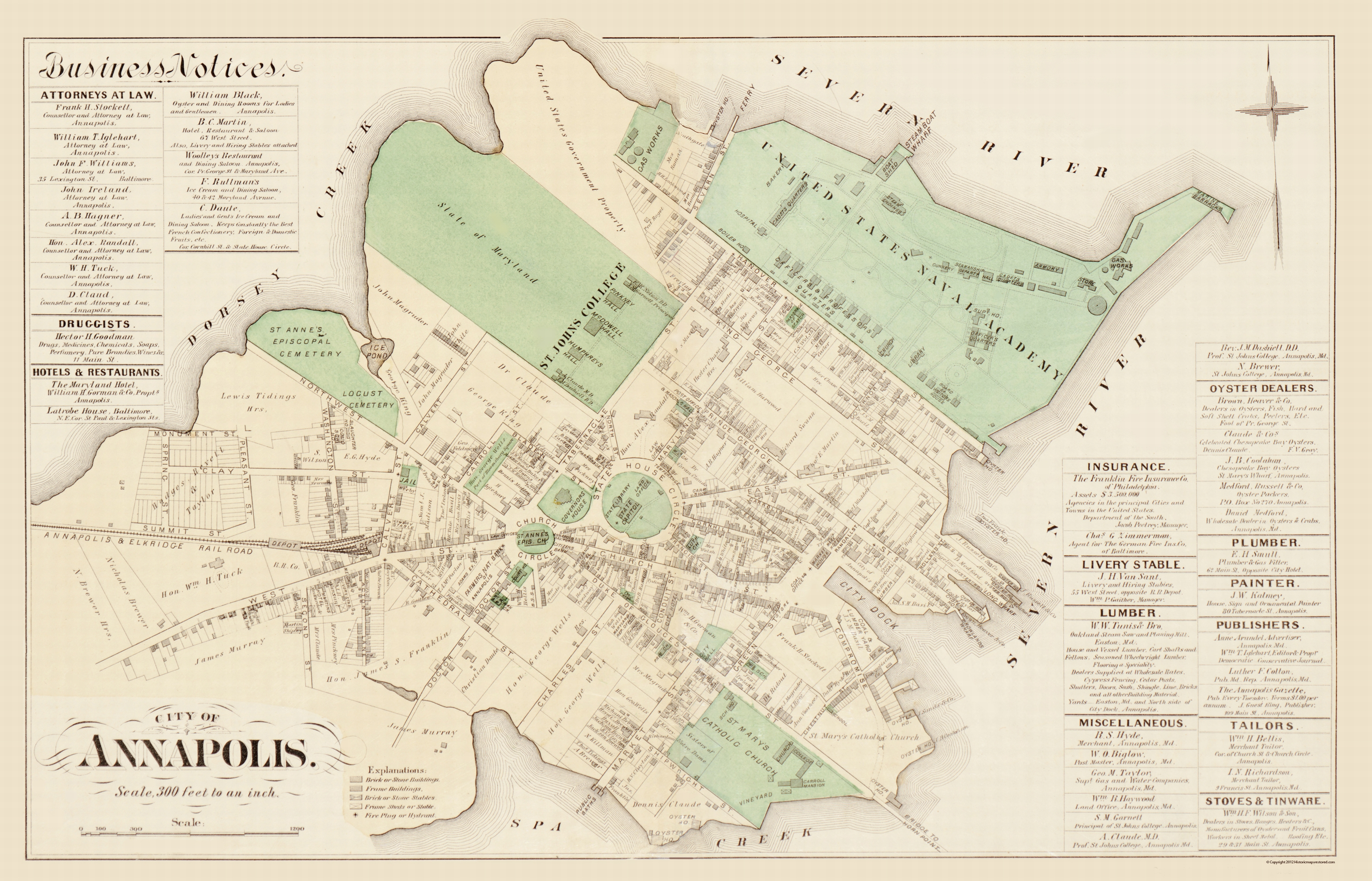Old City Map - Annapolis Maryland - Hopkins 1877 - Printable Map Of Annapolis Md