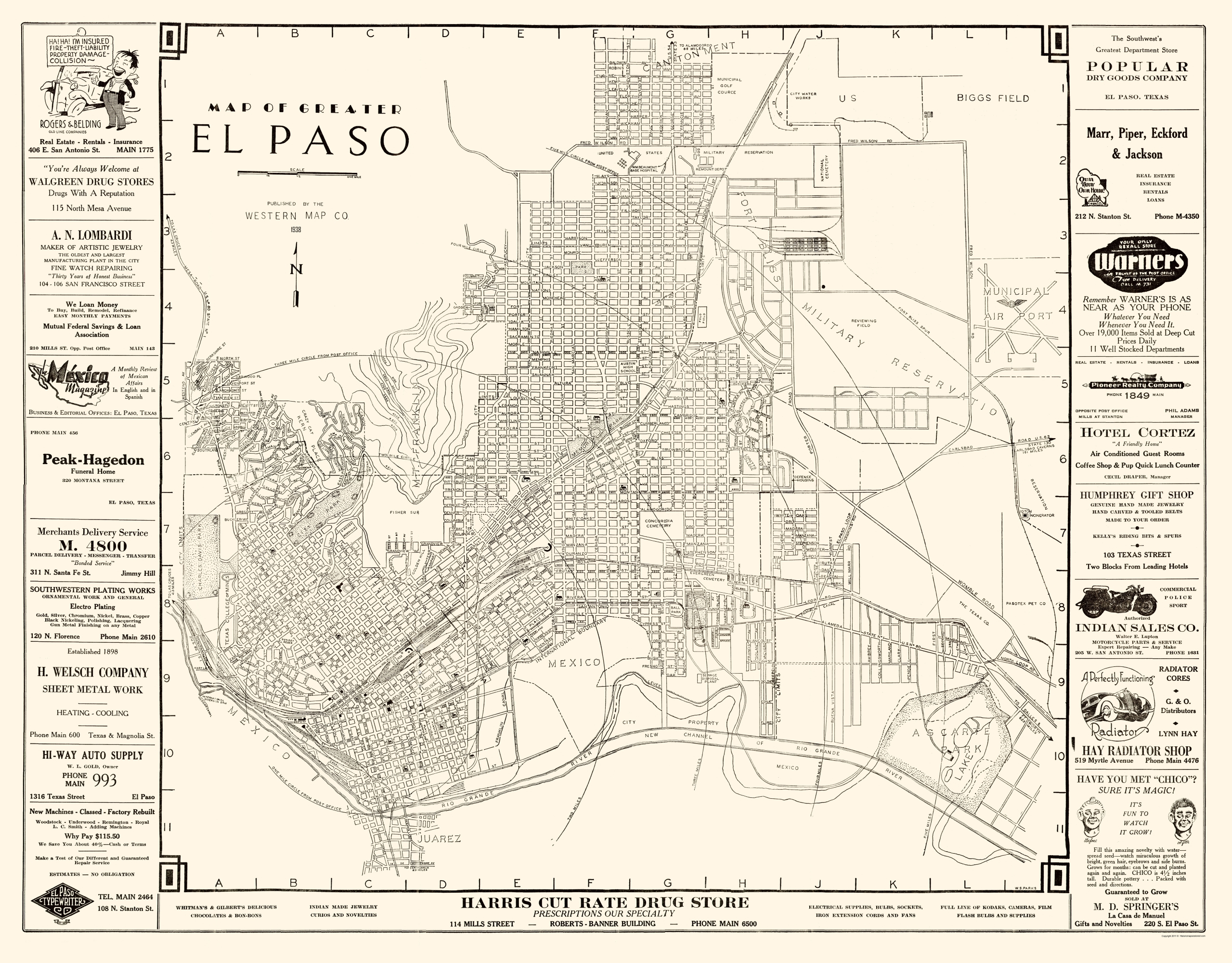 Old City Map - El Paso Texas - Western 1938 - El Paso County Map Texas