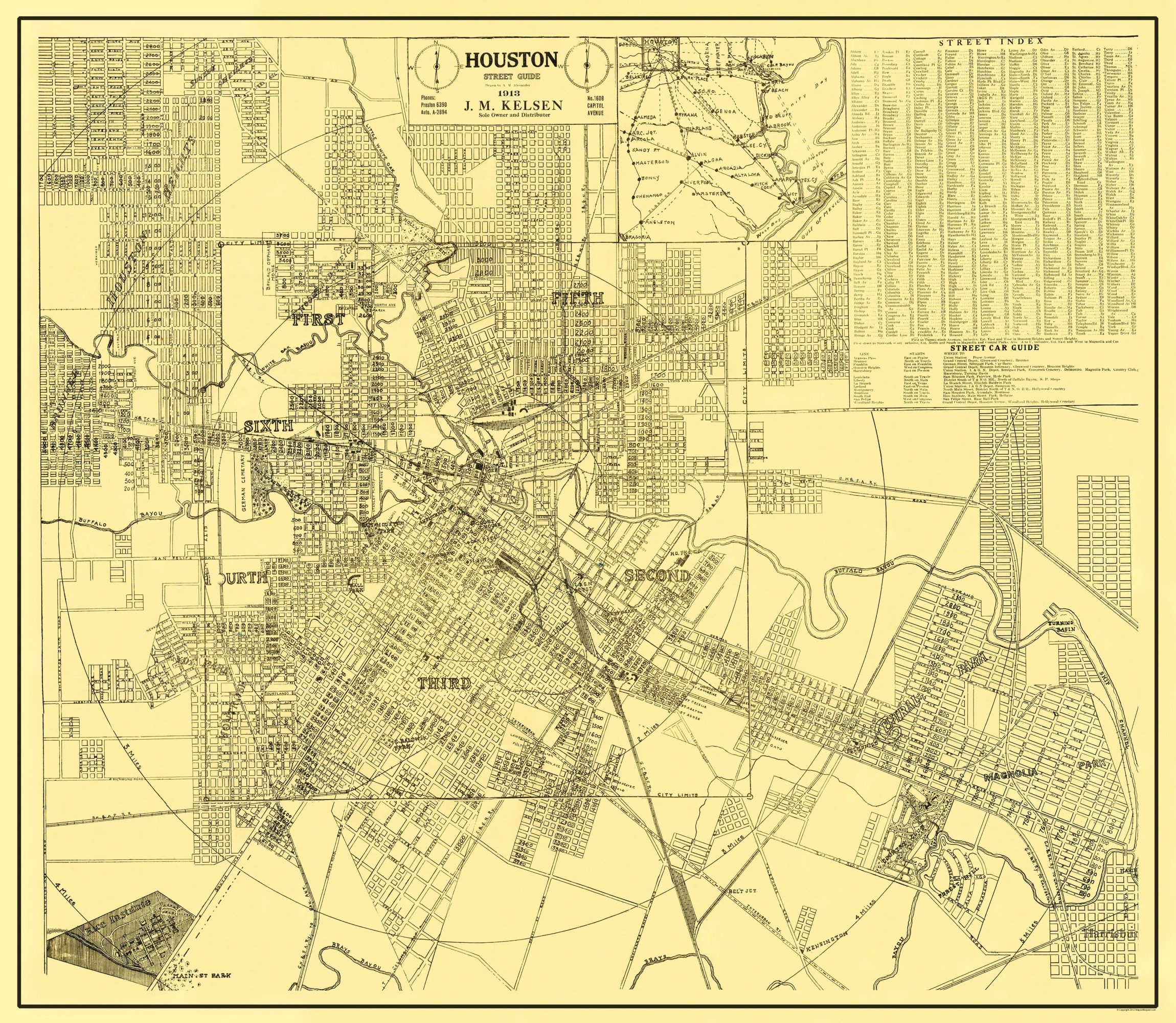 Old City Map - Houston Texas Street Guide - 1913 - Old Texas Maps Prints