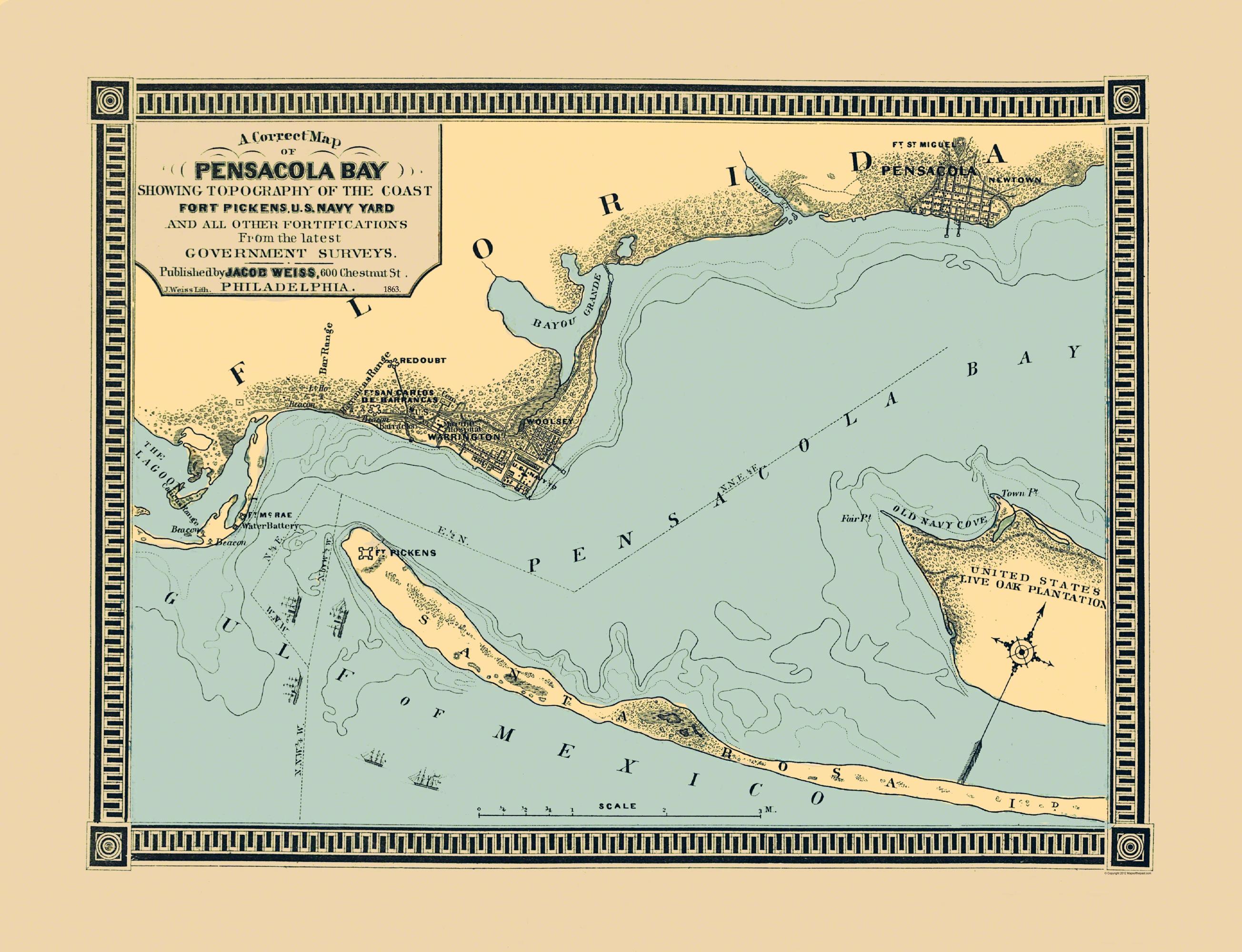 Old City Map - Pensacola Bay Florida - 1863 - Old Maps Of Pensacola Florida