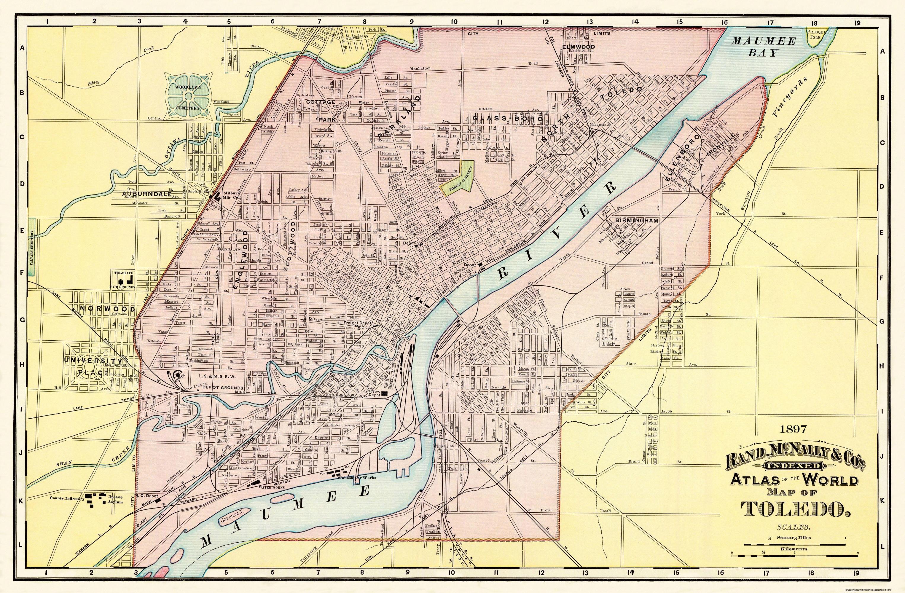 Old City Map - Toledo Ohio - Rand Mcnally 1897 - Printable Map Of Toledo Ohio
