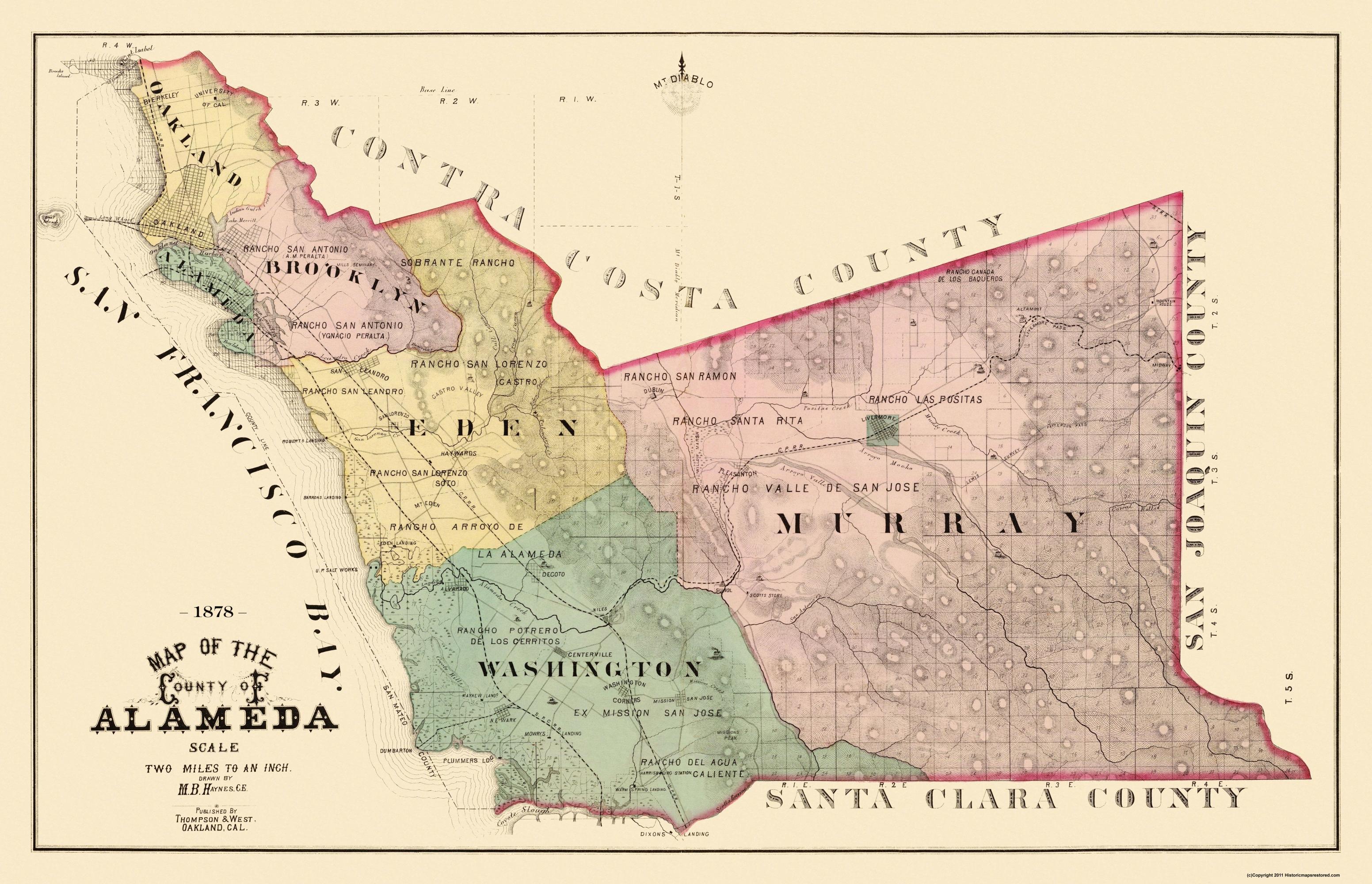 Old County Map - Alameda California Landowner - 1878 - Old California Map
