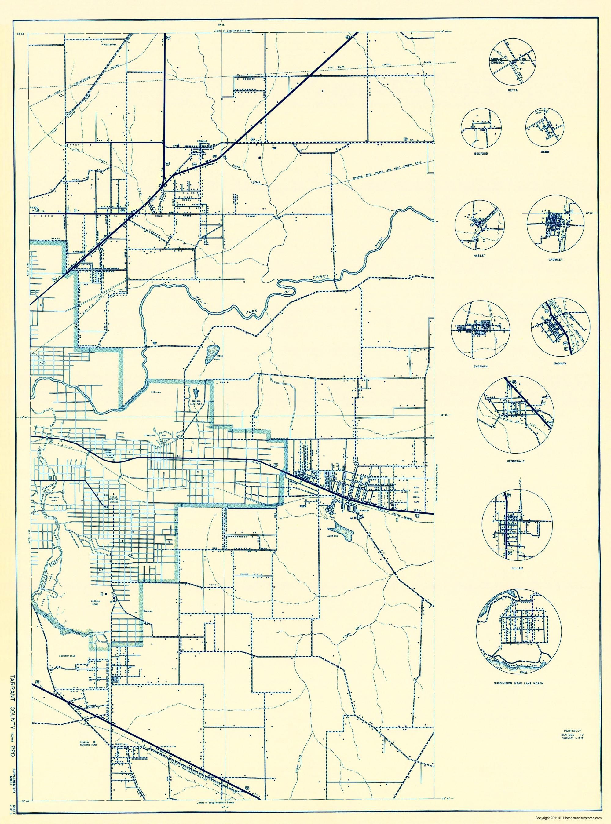 Old County Map - Tarrant Texas - 1936 - Crowley Texas Map