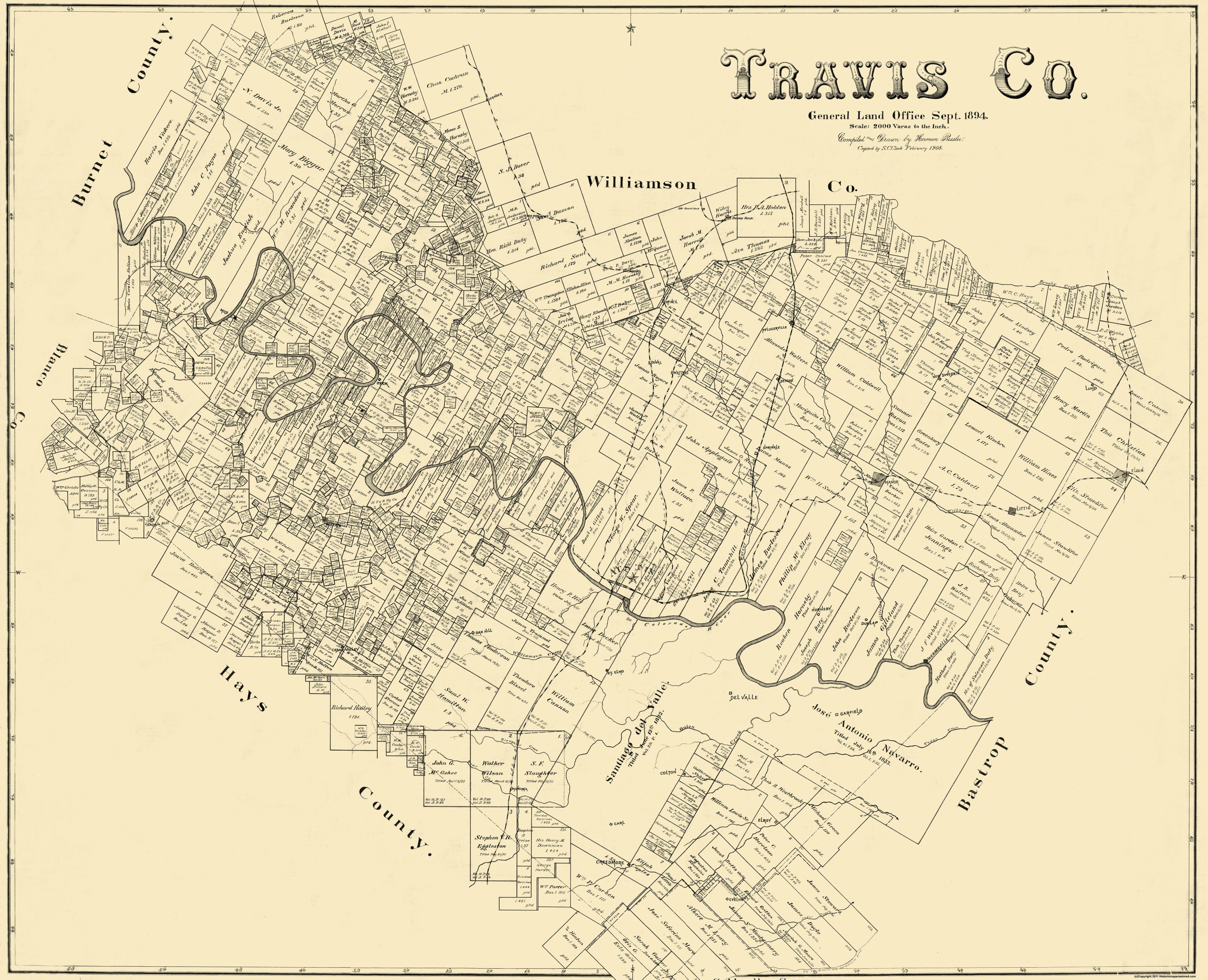 Old County Map - Travis Texas Landowner - 1894 - Antique Texas Map Reproductions