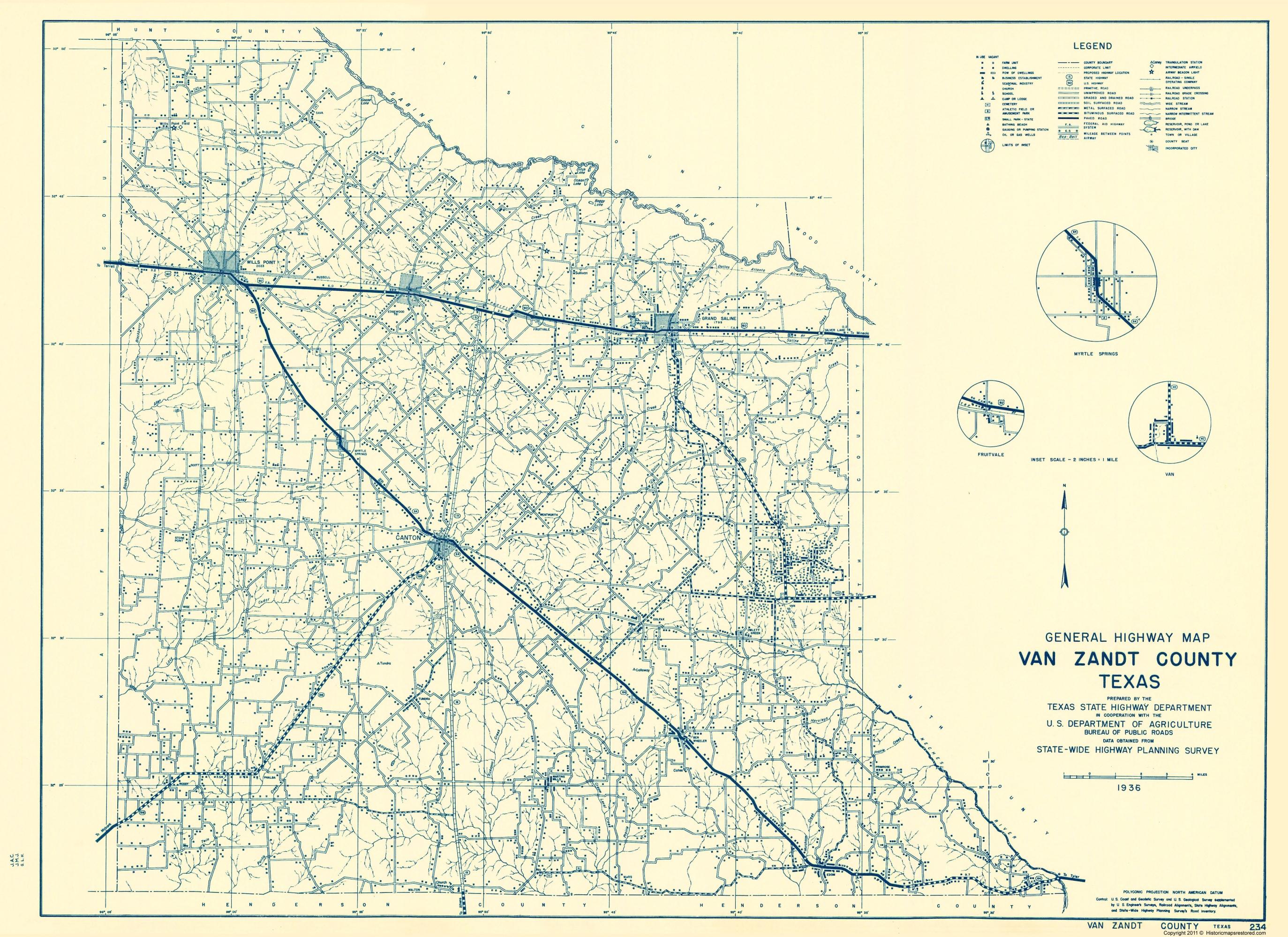Old County Map - Van Zandt Texas - Highway Dept 1936 - Van Zandt County Texas Map