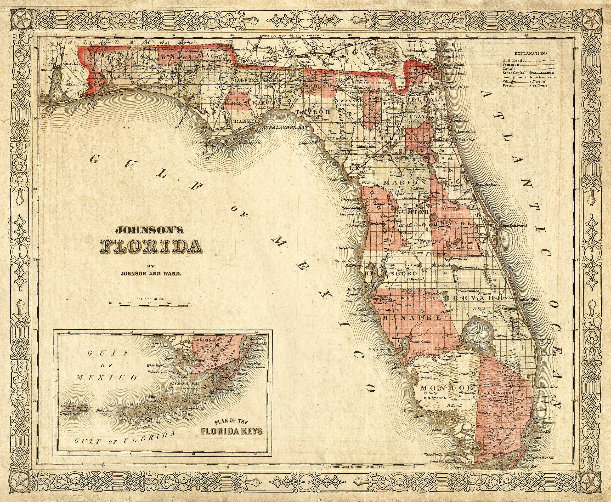 Old Florida Map 1863 Johnson's Map Of Florida Restoration Style - Old Florida Map