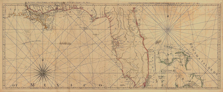 Old Florida Map Vintage Map Of Florida 1775 Restoration Deco Style - Vintage Florida Maps For Sale