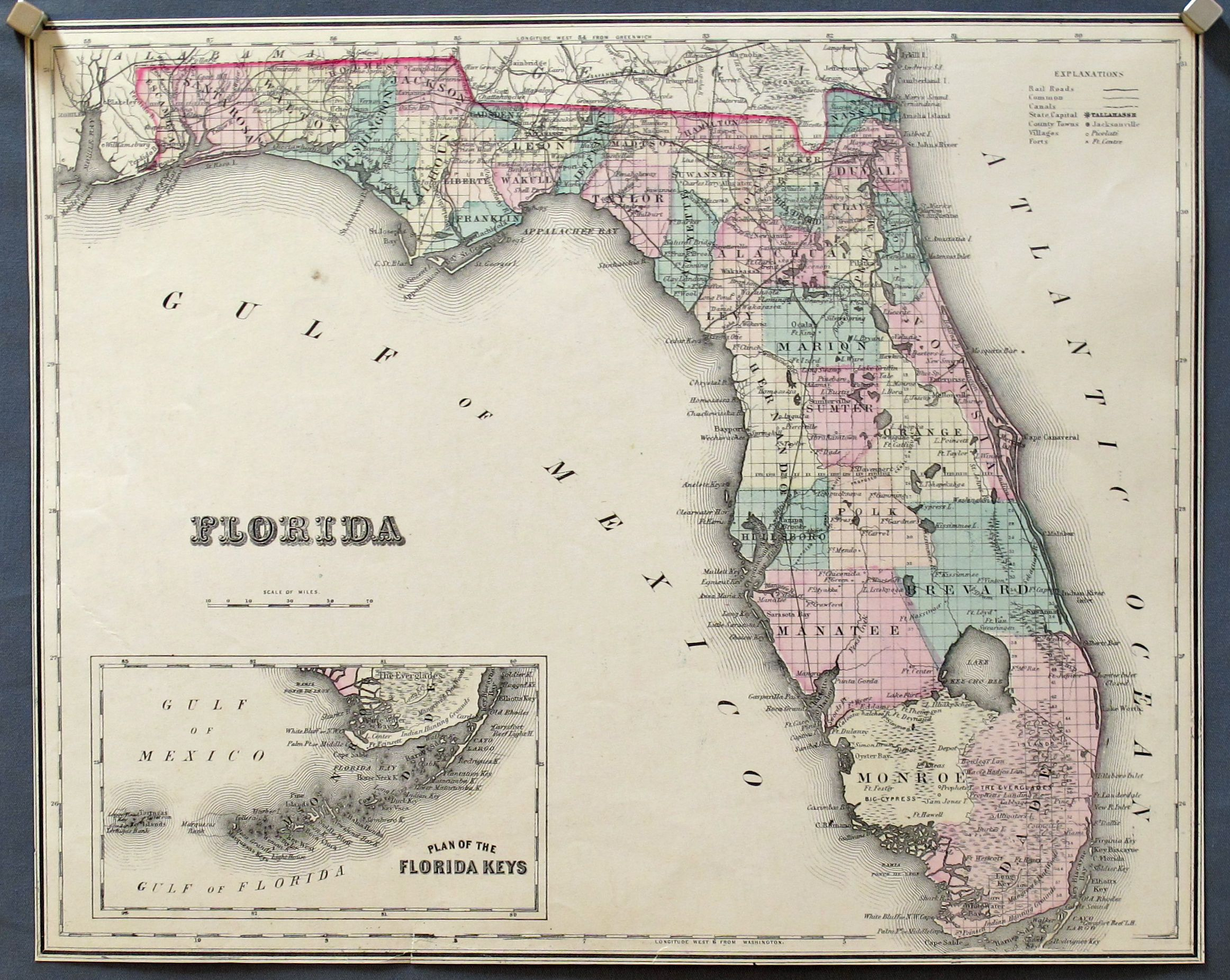 Old Florida Maps | The Wellington Conservatory: Old Maps And Antique - Old Florida Maps Prints