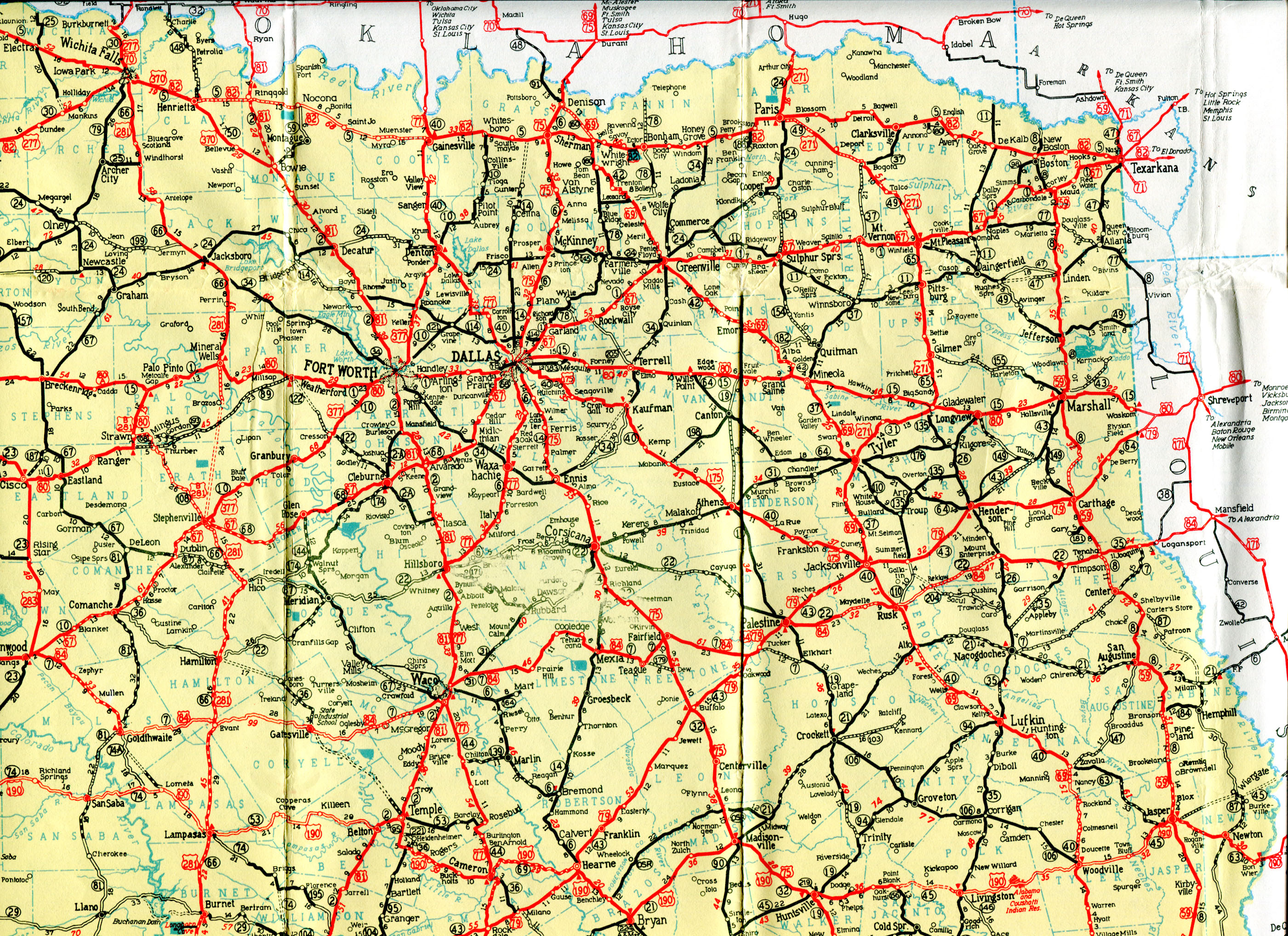 Old Highway Maps Of Texas - Detailed Road Map Of Texas