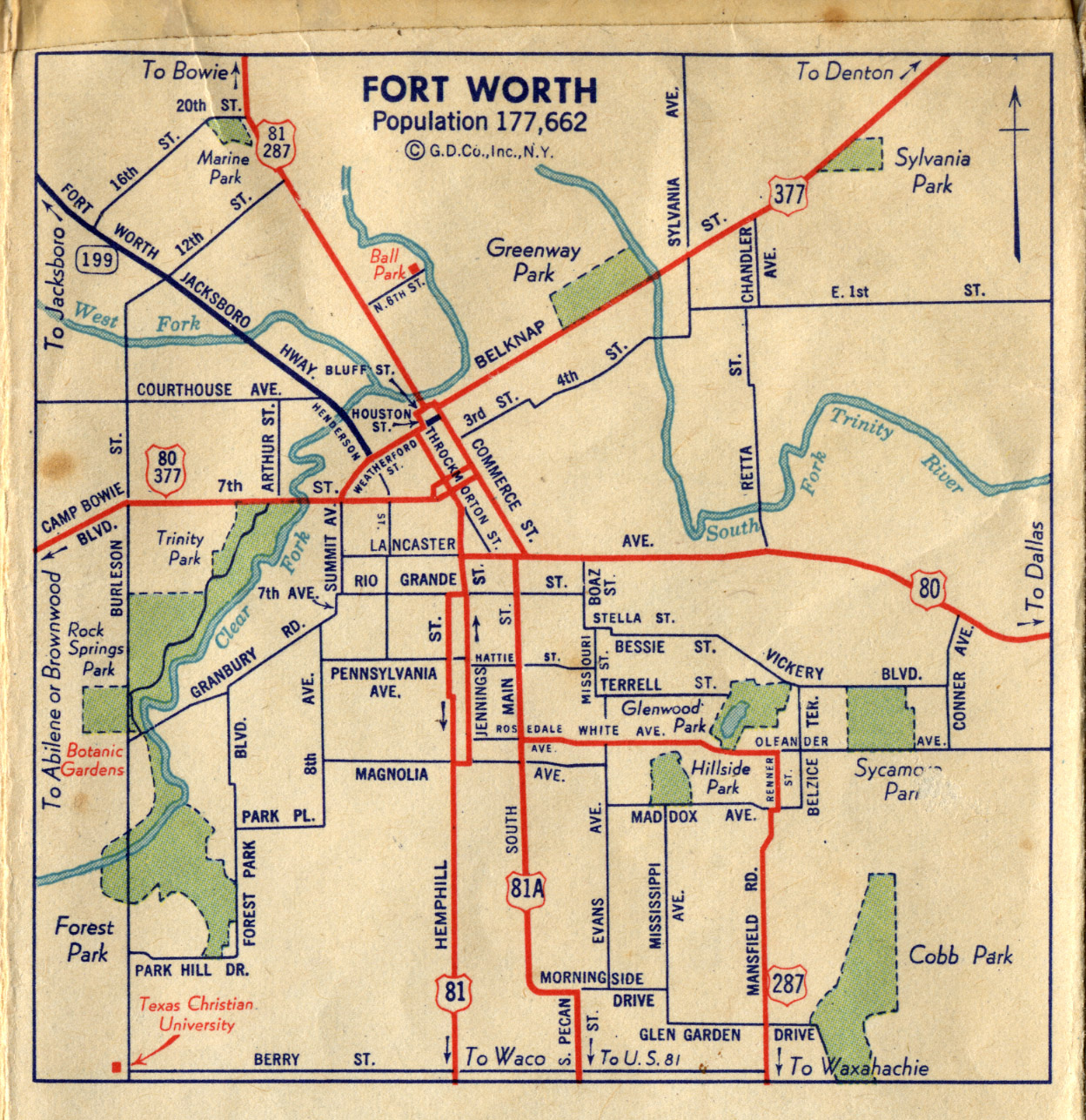 Old Highway Maps Of Texas - Map Of Downtown Fort Worth Texas