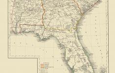 Old Map – Alabama, Georgia, South Carolina, Florida 1854 – Framed Map Of Florida