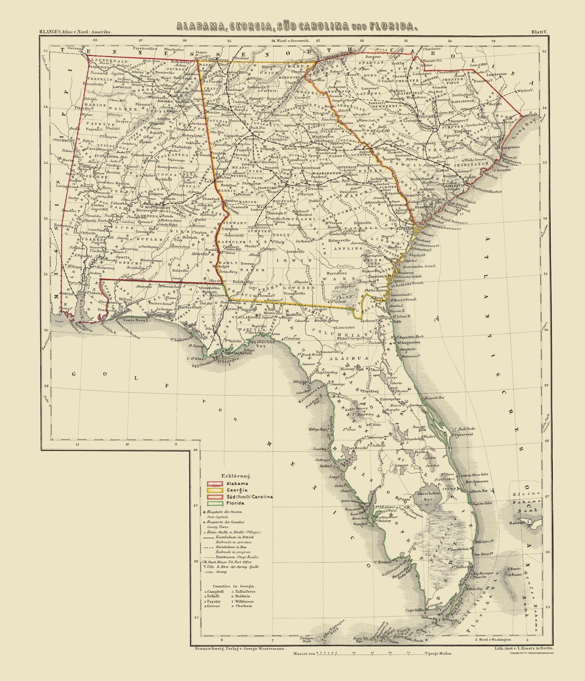 Old Map - Alabama, Georgia, South Carolina, Florida 1854 - Framed Map Of Florida