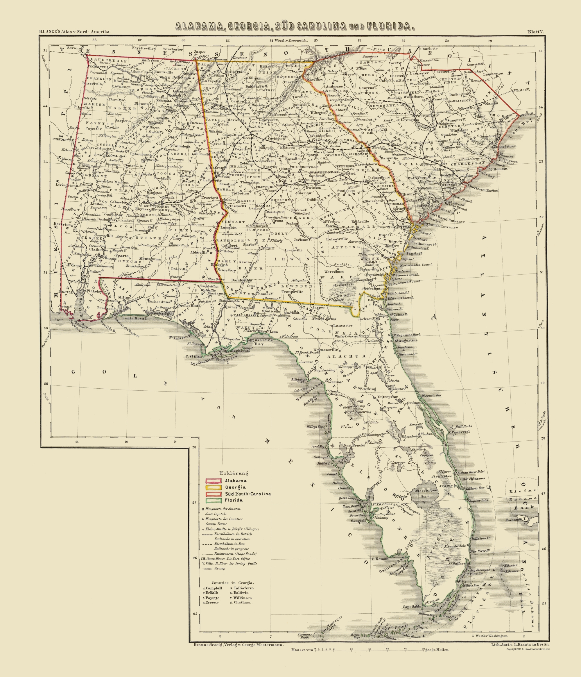 Old Map - Alabama, Georgia, South Carolina, Florida 1854 - Old Florida Maps Prints
