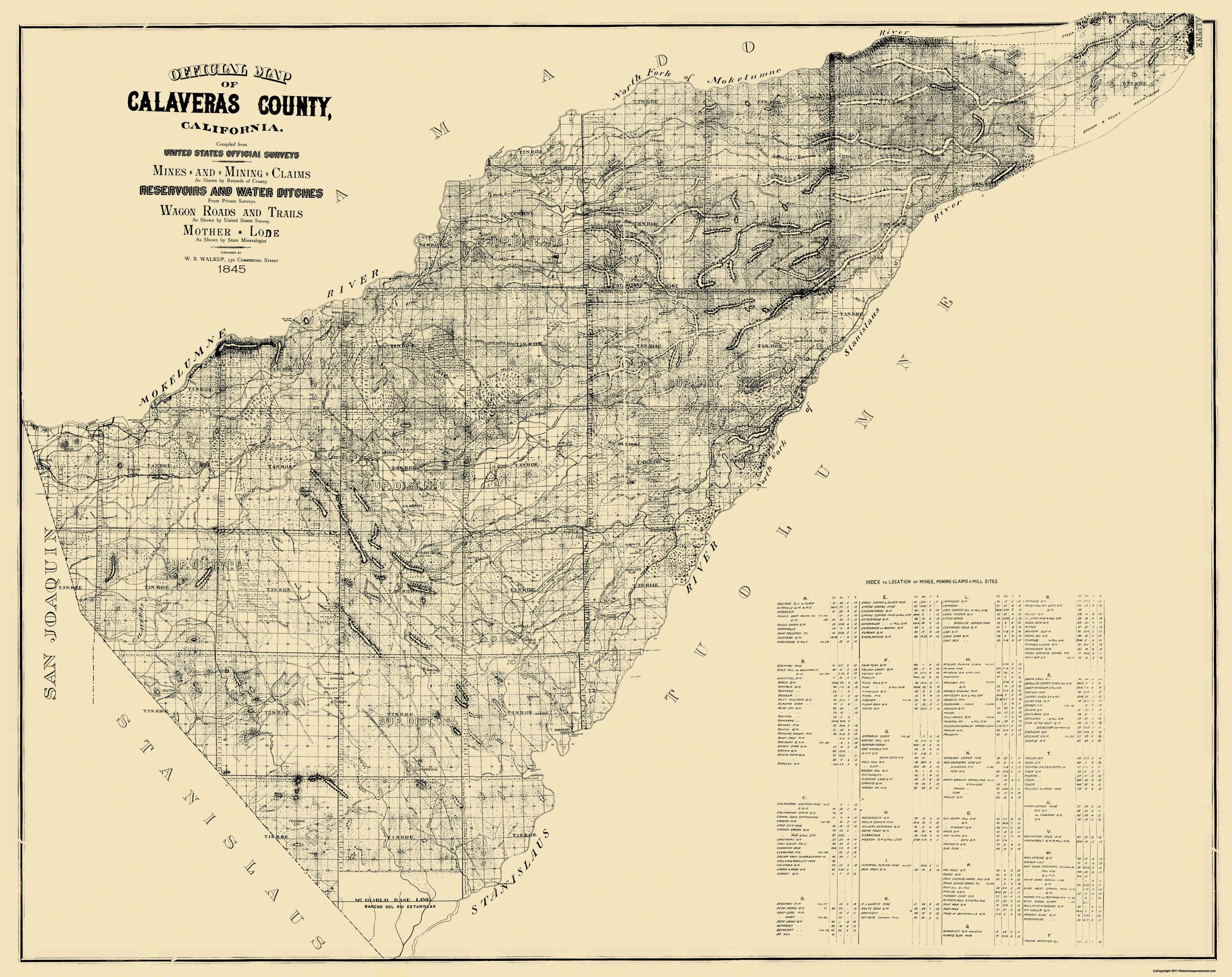 Old Map - Calaveras California Mines, Mining Claims 1845 - Gold Prospecting Maps California