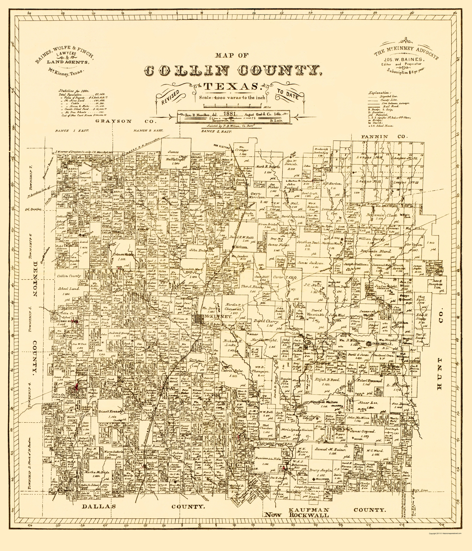 Old Map - Collin Texas Landowner - Gast 1881 - Collin County Texas Map
