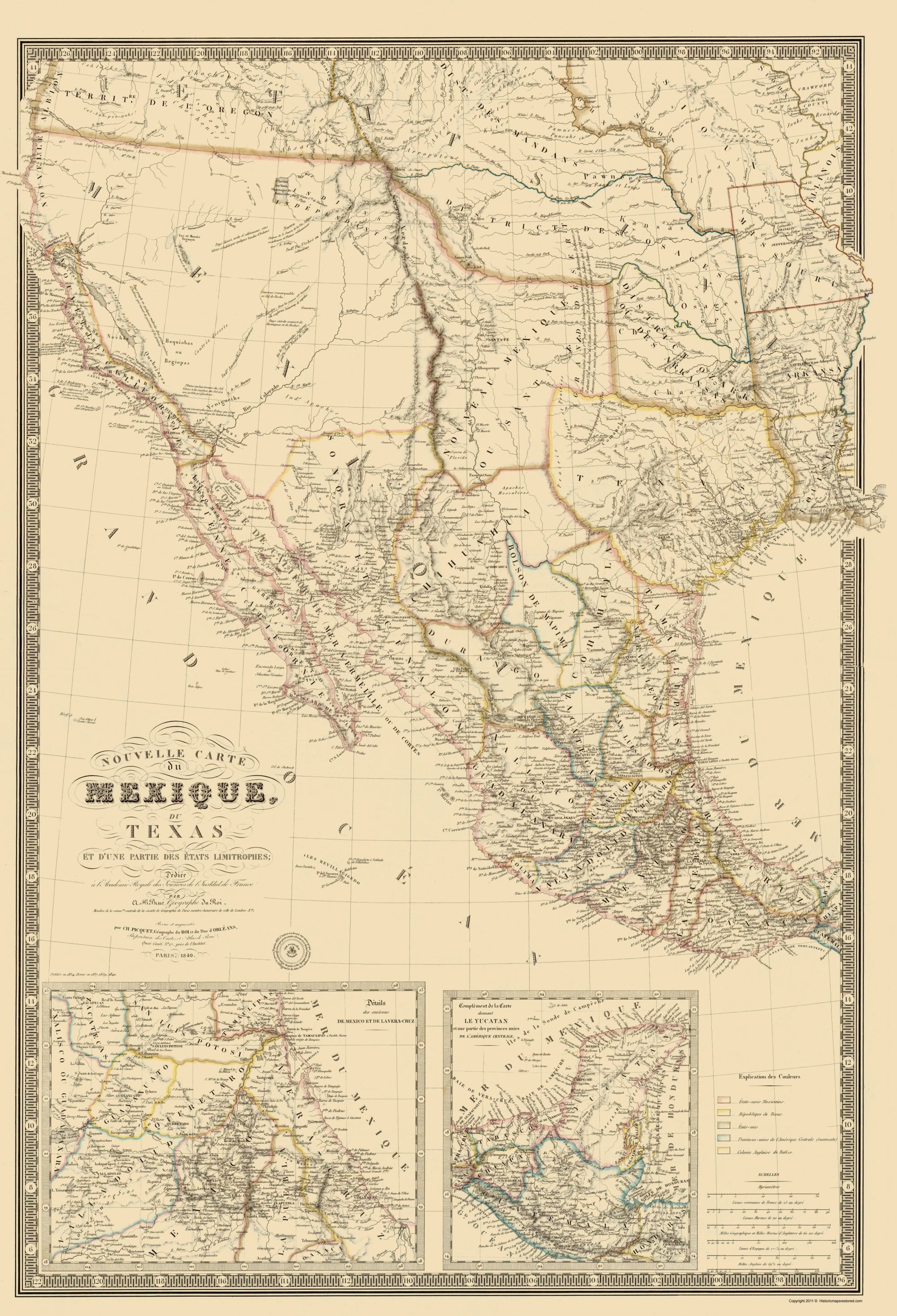 Old Map - Mexico, Southwest United States 1840 | Home - Shopping - Old Texas Maps Prints