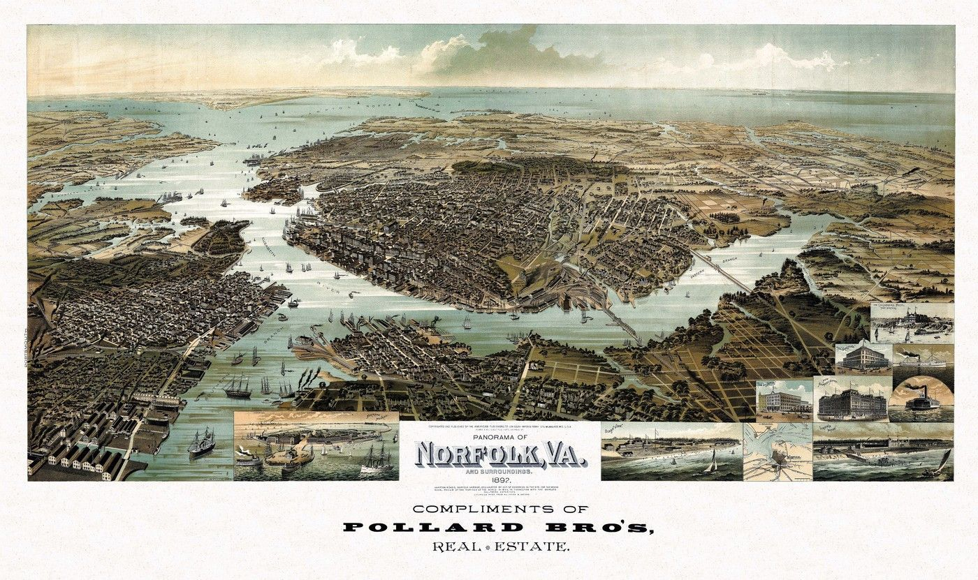 Old Map Of Norfolk Virginia 1892 Norfolk County Poster | Maps - Printable Map Of Norfolk Va