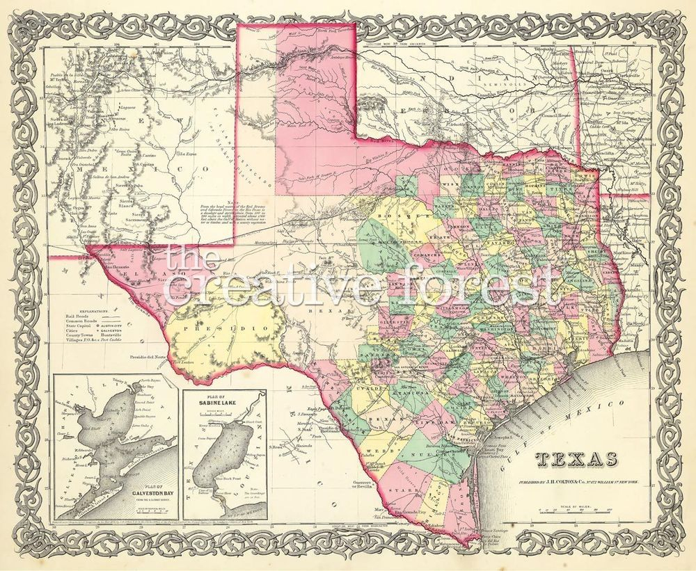 Old Map Of Texas, 1856 Vintage Texas State Map Rolled Canvas Print - Vintage Texas Map Prints