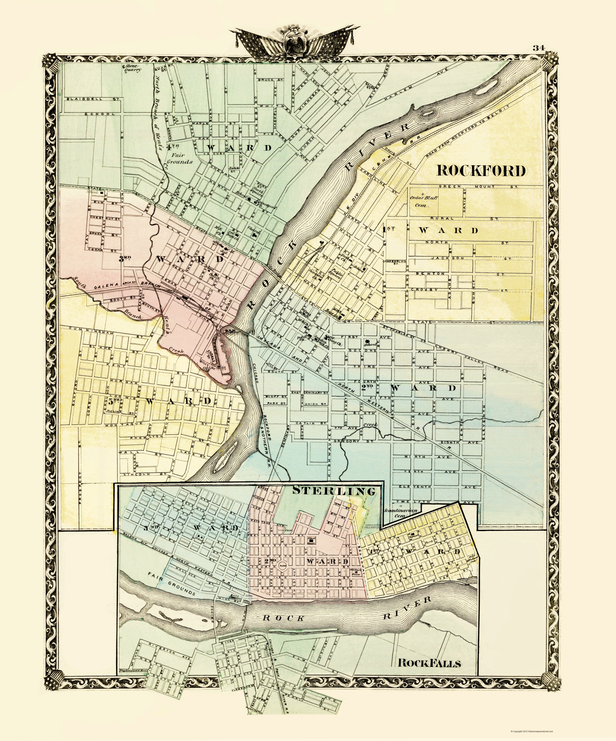Old Map - Rockford, Sterling, Rock Falls Illinois 1870 - Printable Map Of Rockford Il