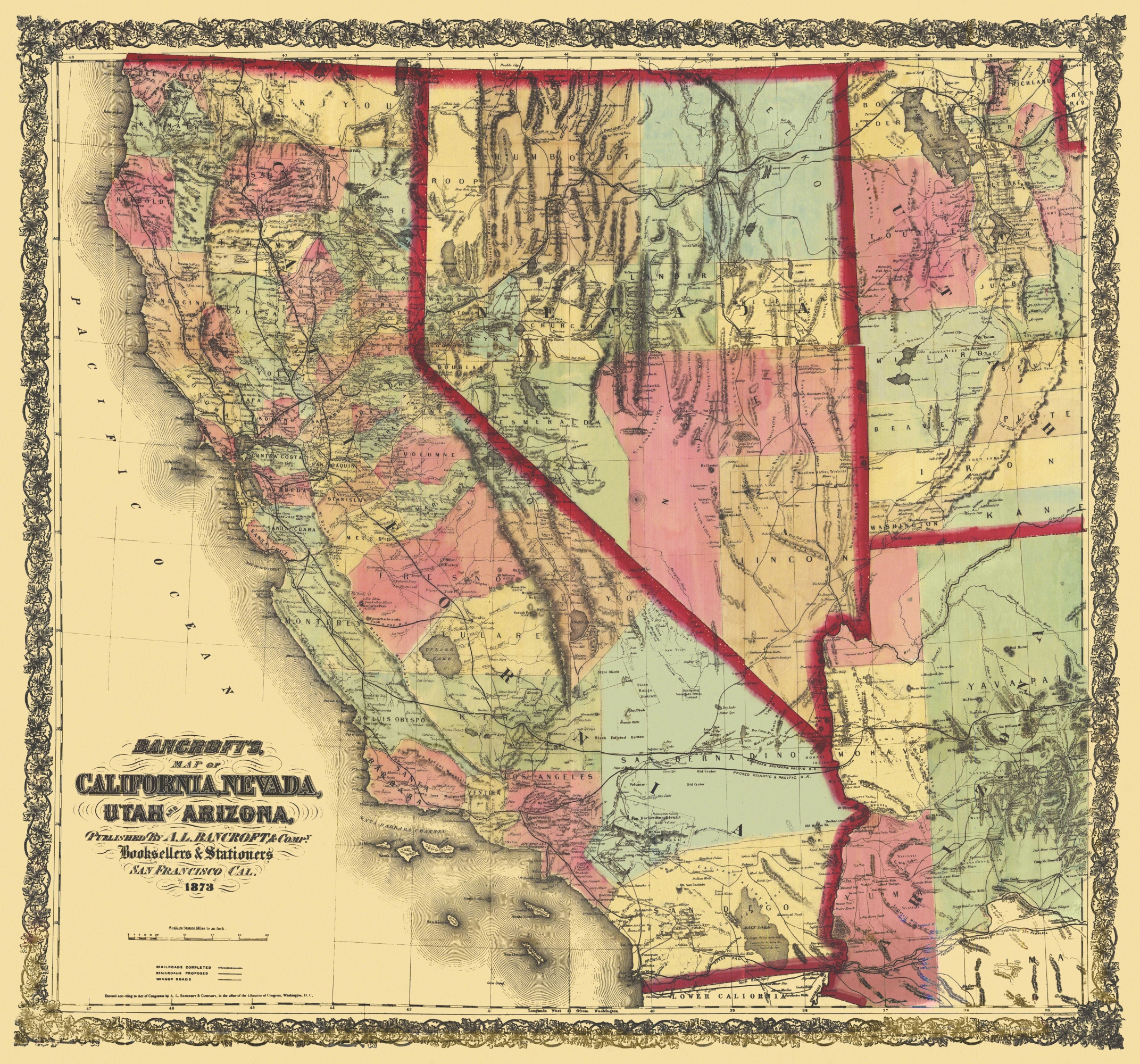 Old State Map - California, Nevada, Utah, Arizona 1873 - California Nevada Map