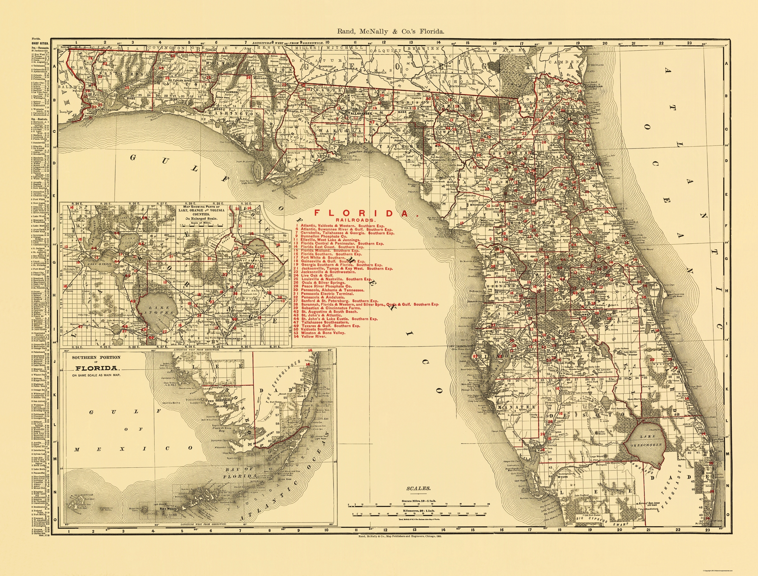 Old State Map - Florida - Rand Mcnally 1900 - Old Florida Map