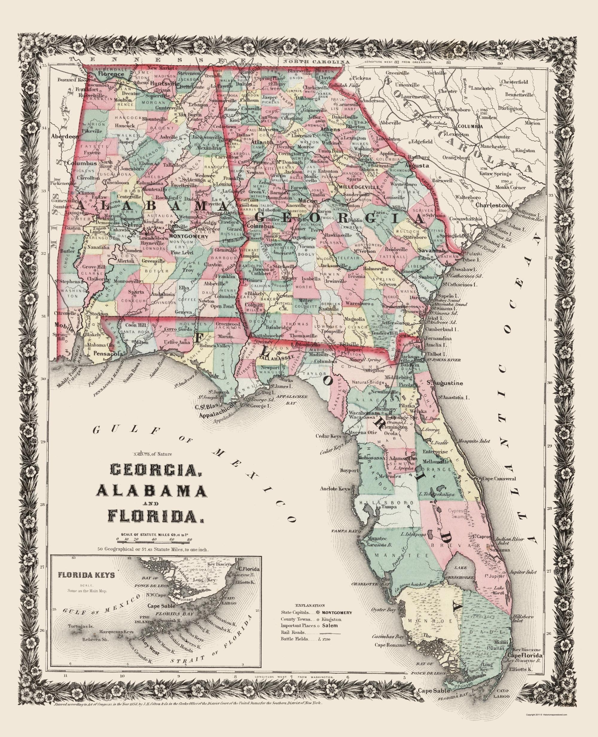Old State Map - Georgia, Alabama, Florida - Colton 1858 - Map Of Georgia And Florida