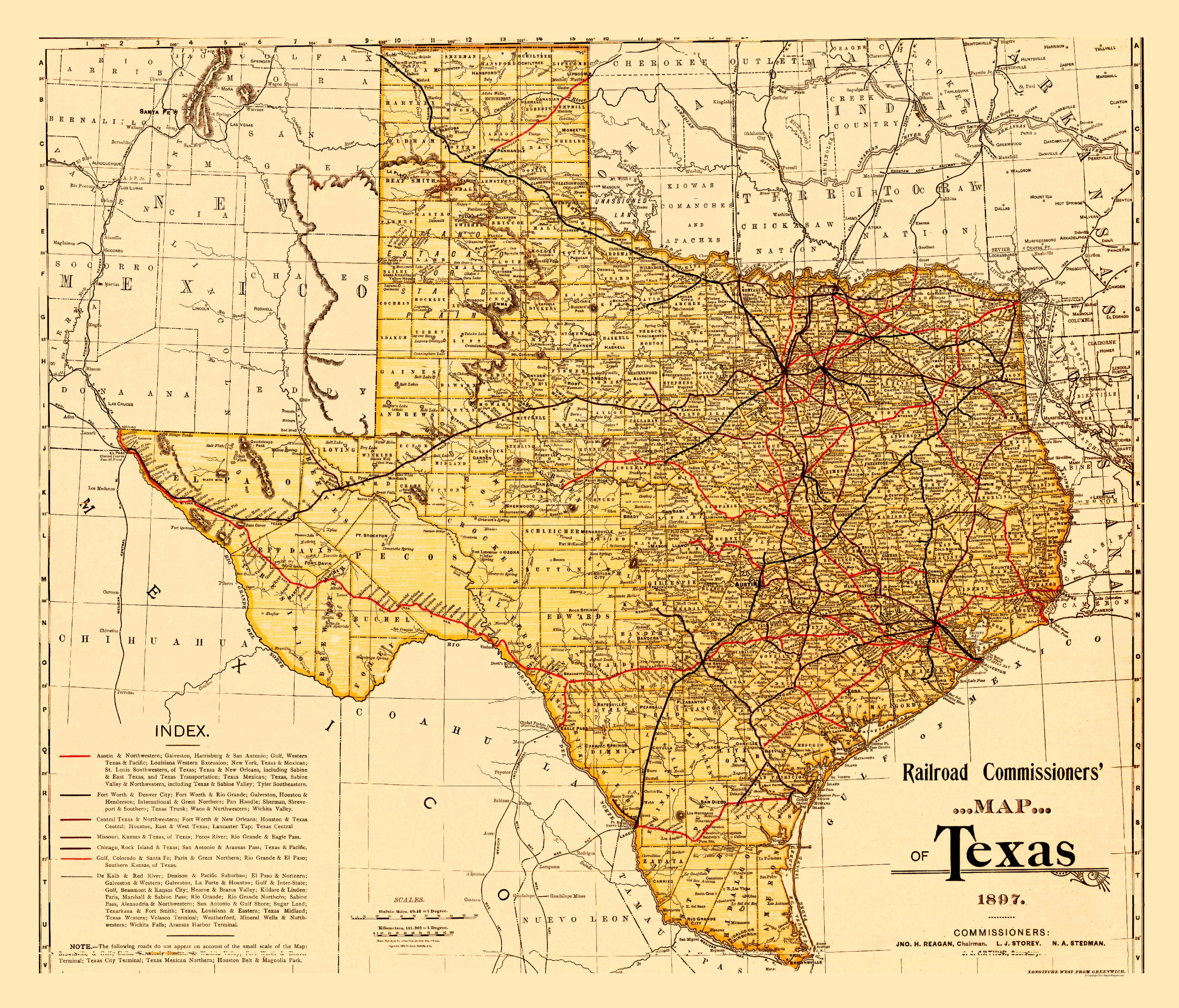 Old State Map - Railroad Commissioners Map Of Texas 1897 - Old Texas Map