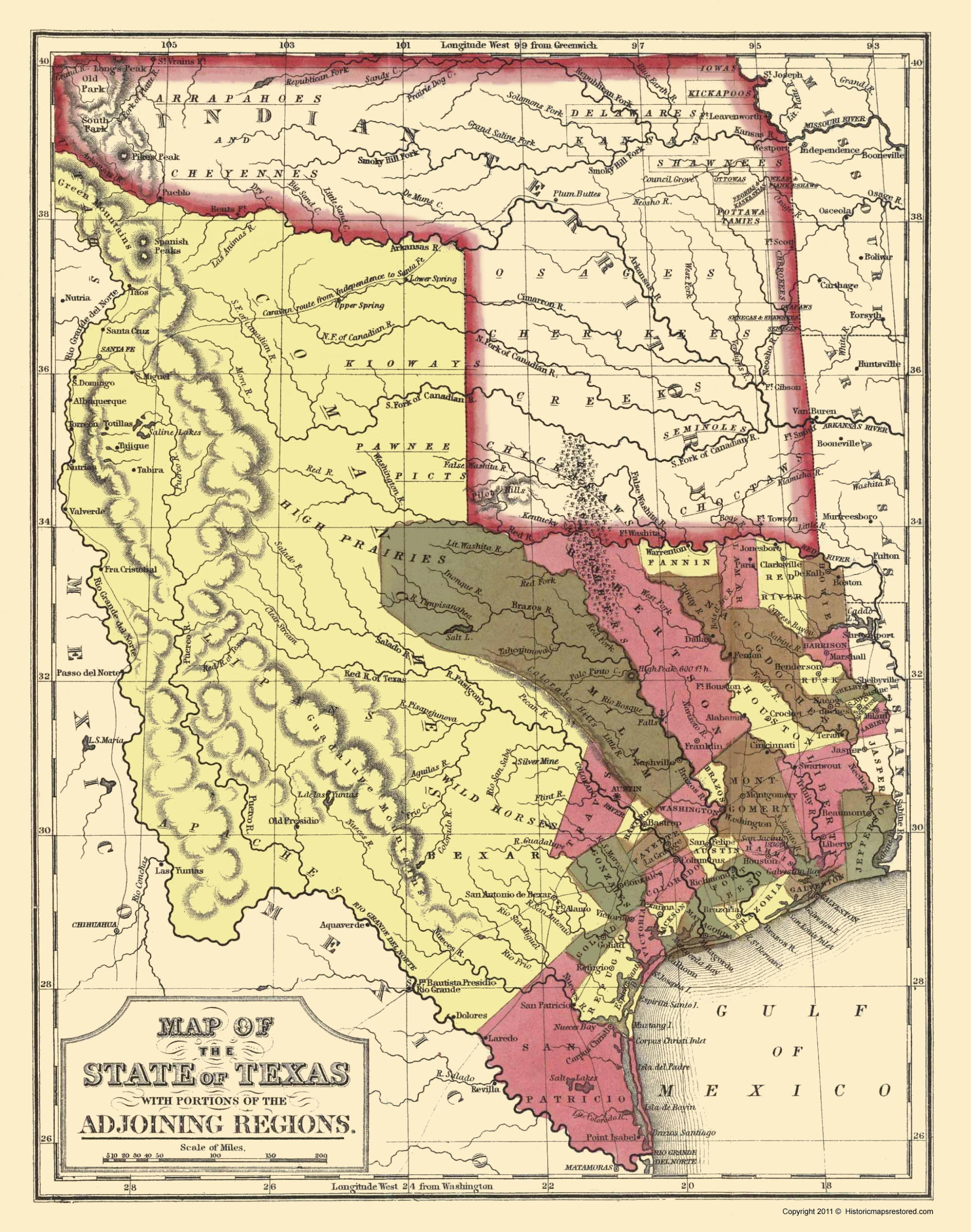 Old State Map - Texas - Cowperthwait And Mitchell 1846 - Texas Map 1846