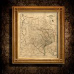 Old Texas Wall Map 1841 Historical Texas Map Antique Decorator   Old Texas Map Wall Art