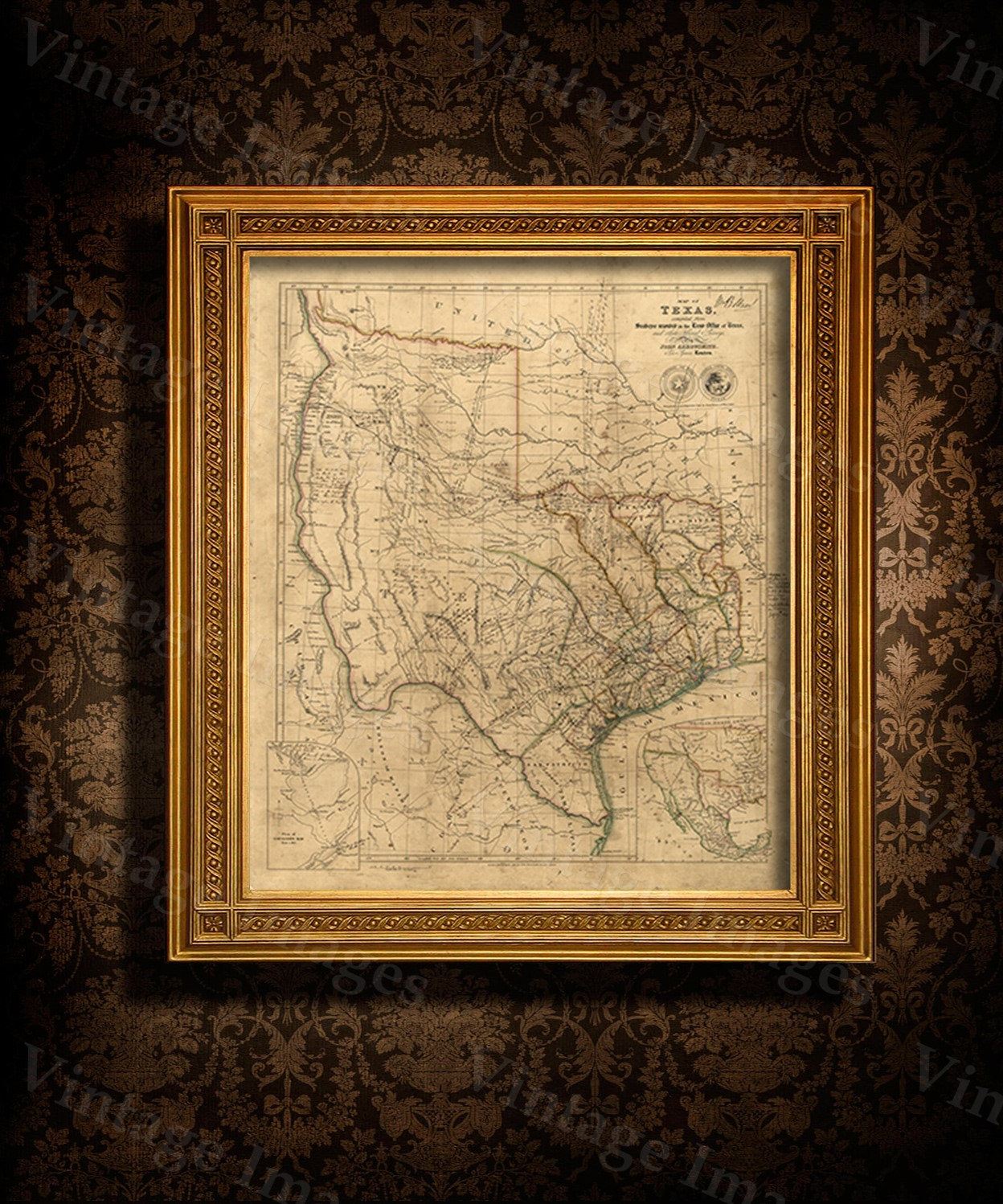 Old Texas Wall Map 1841 Historical Texas Map Antique Decorator - Old Texas Map Wall Art