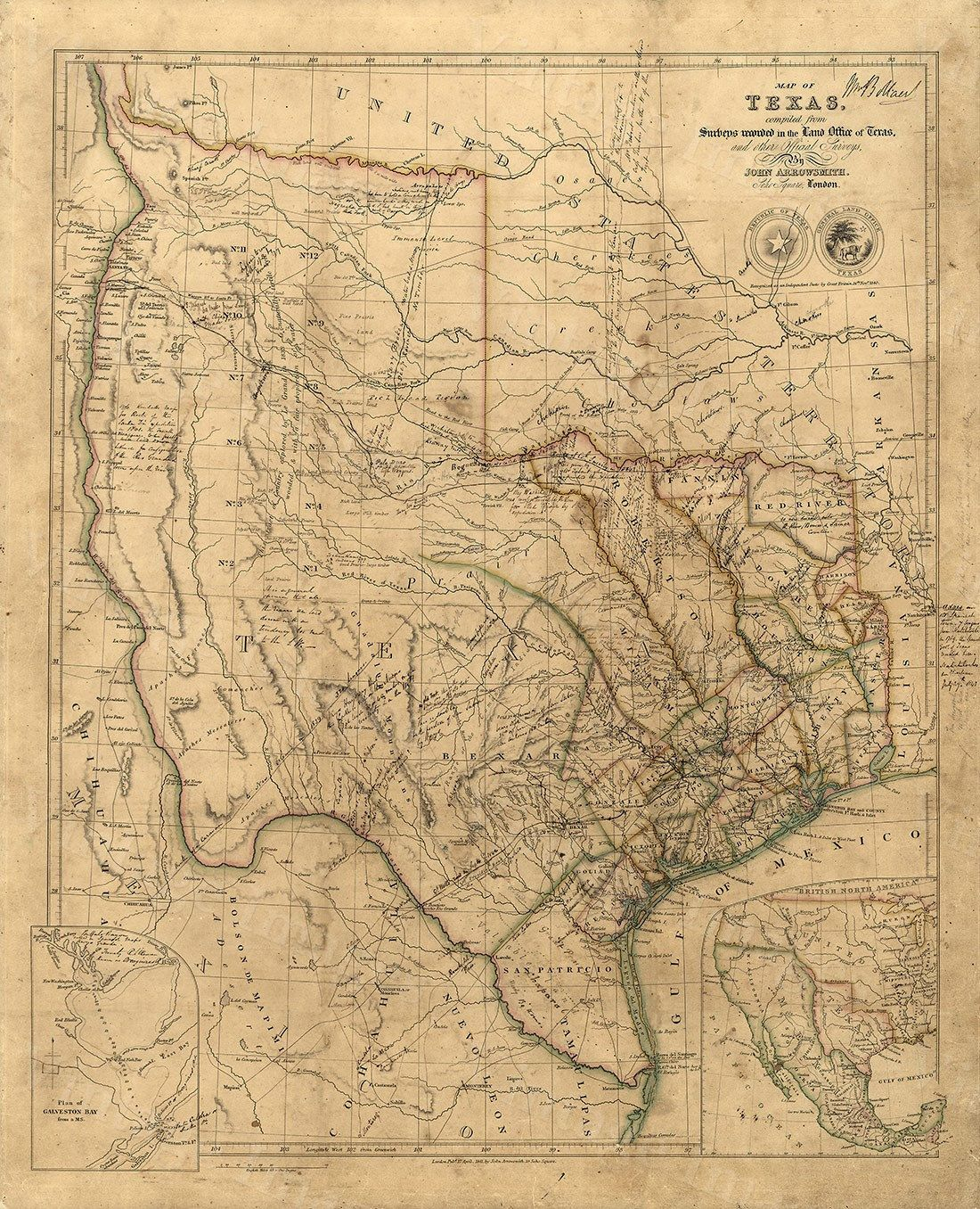 Old Texas Wall Map 1841 Historical Texas Map Antique Decorator Style - Republic Of Texas Map Framed