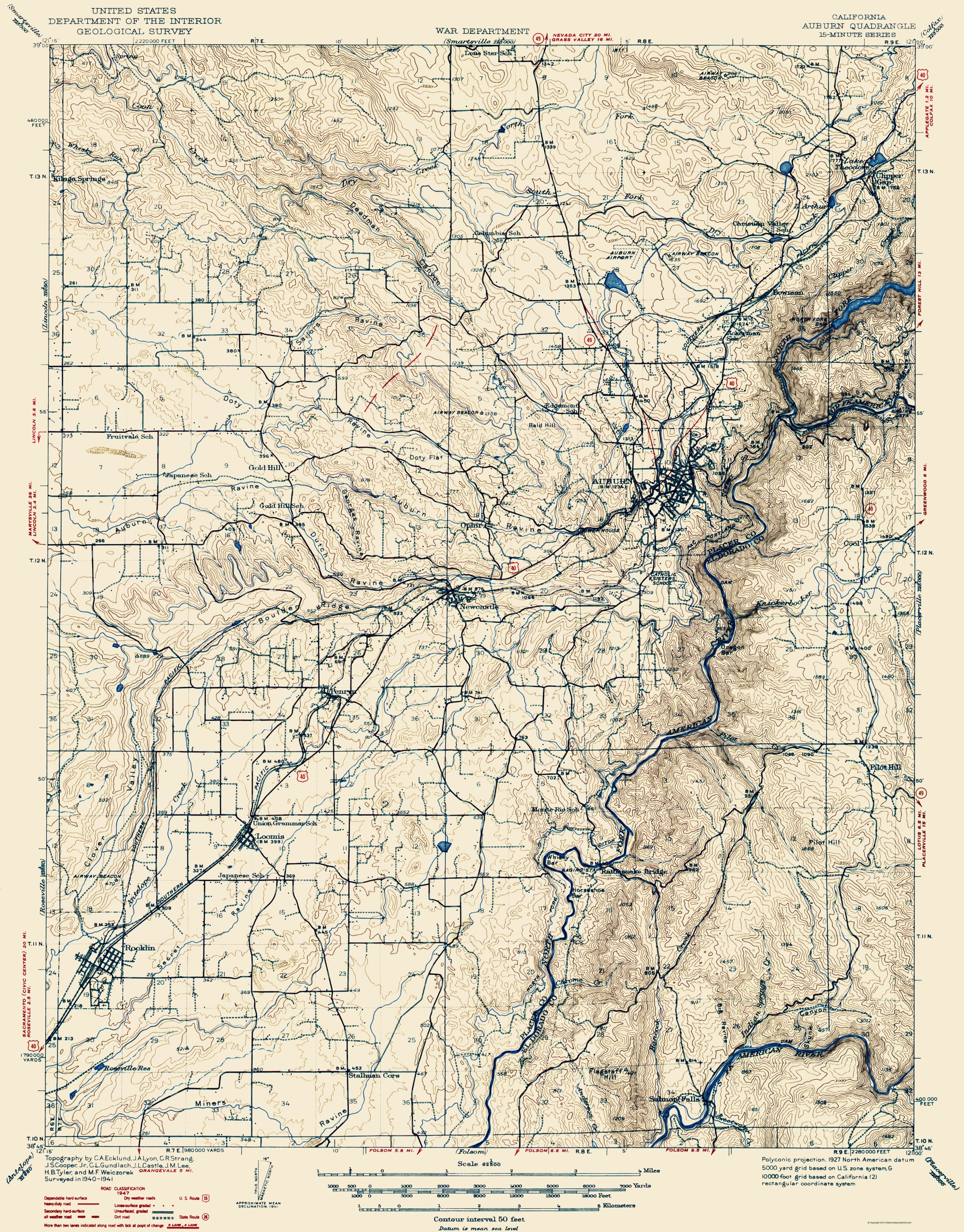 Old Topographical Map - Auburn California 1941 - Auburn California Map