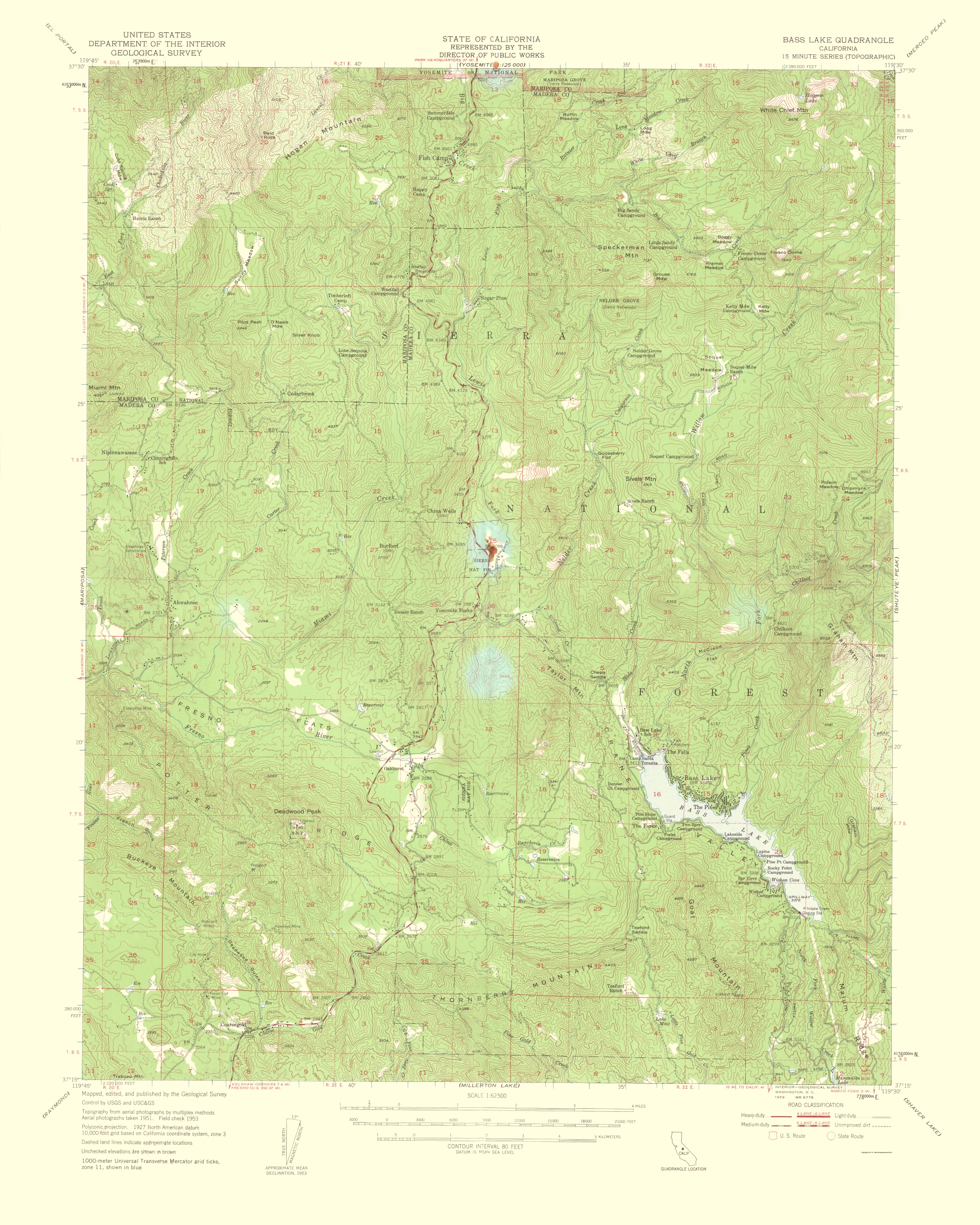 Old Topographical Map - Bass Lake California 1959 - Bass Lake California Map