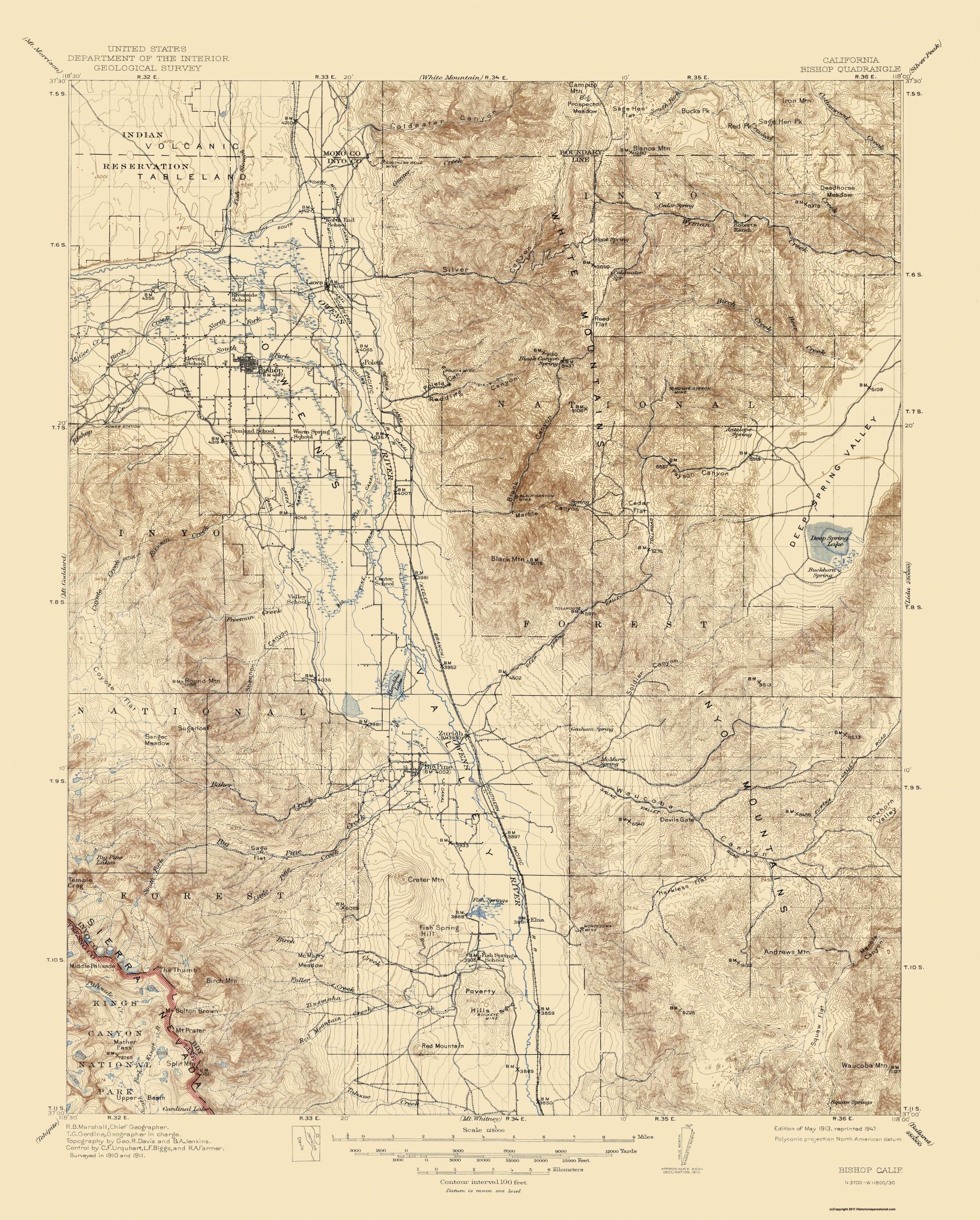 Old Topographical Map - Bishop California 1913 - Bishop California Map
