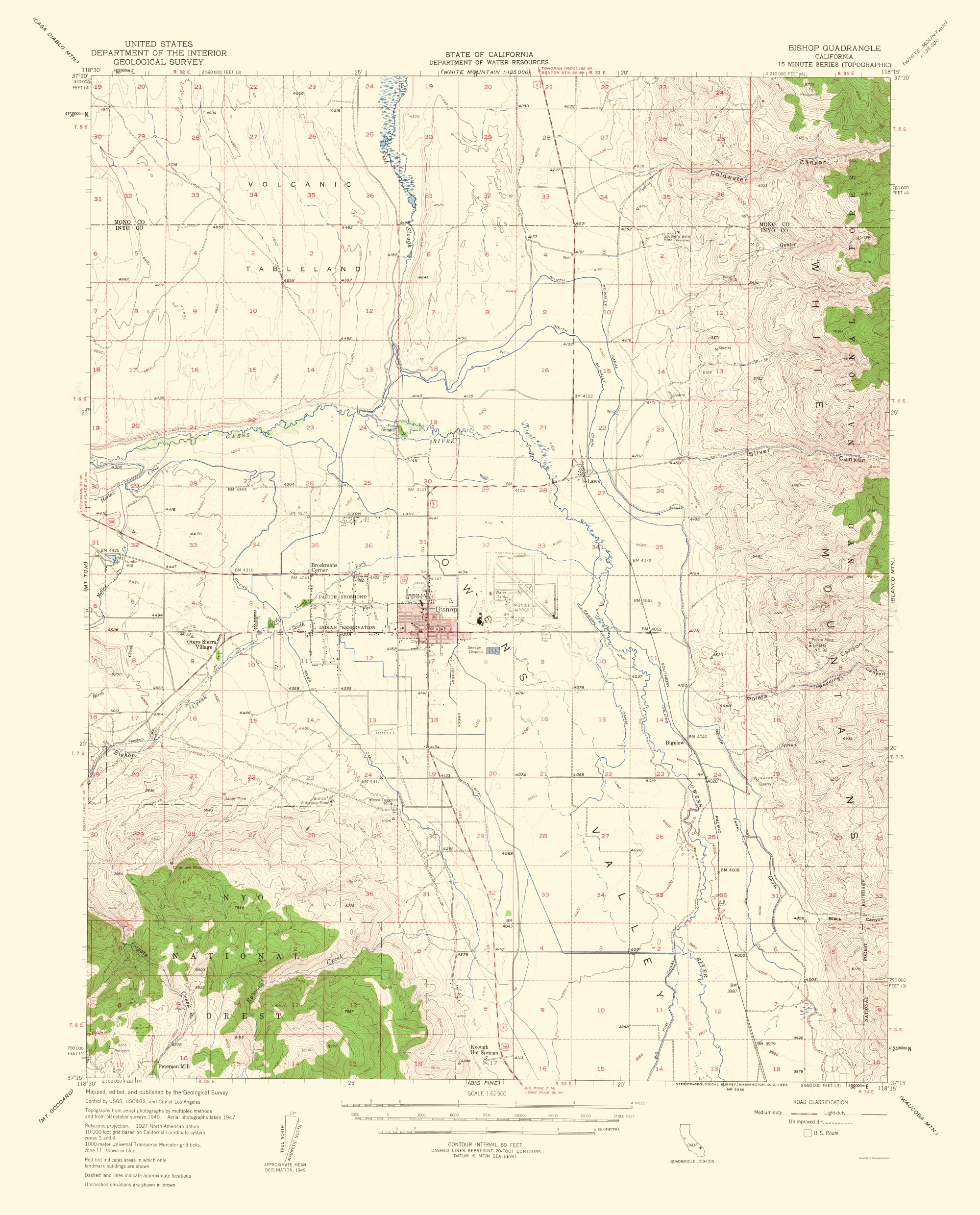 Old Topographical Map - Bishop California 1963 - Map Of Bishop California Area