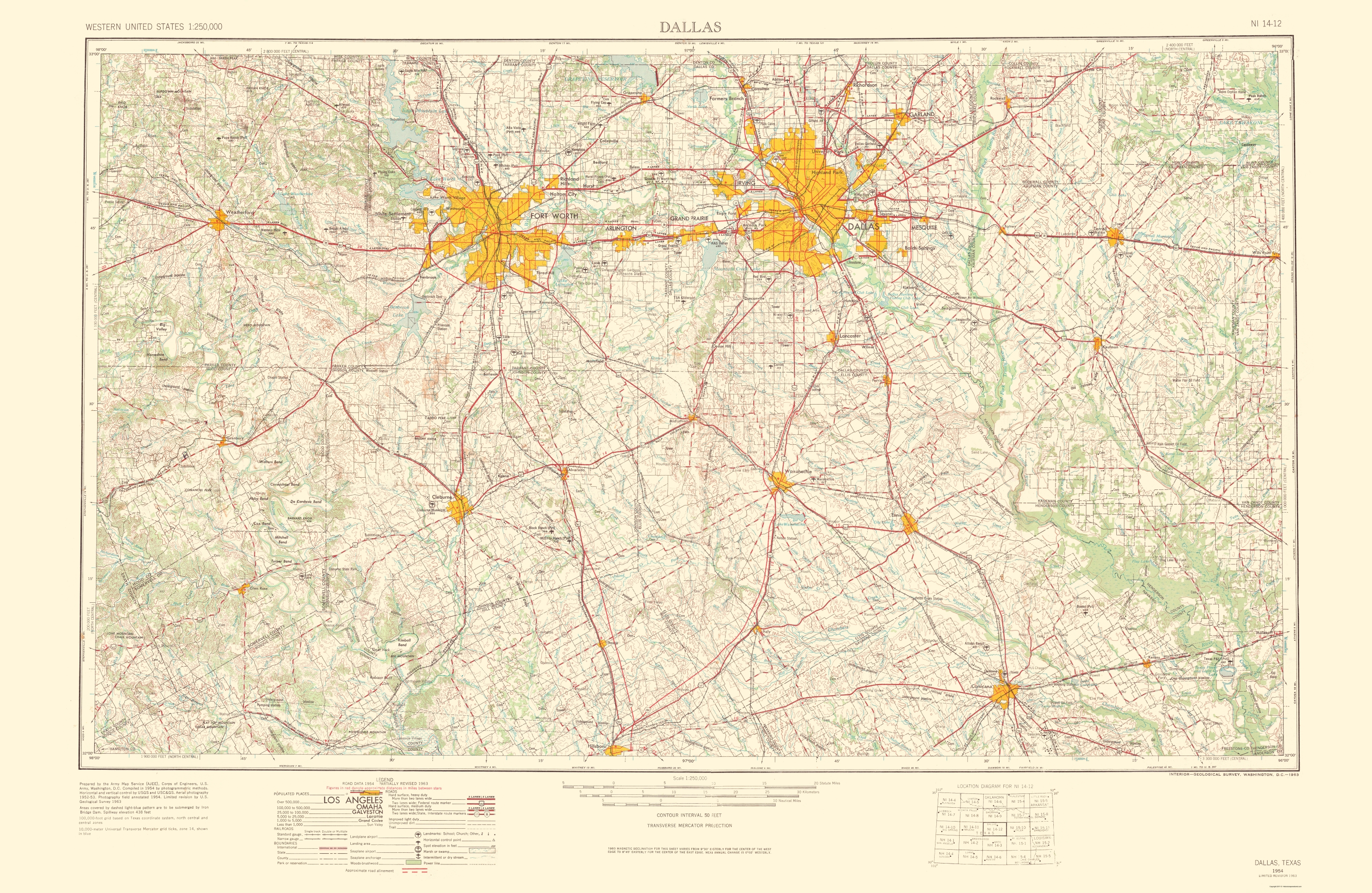 Old Topographical Map - Dallas Texas 1963 - Dallas Map Of Texas