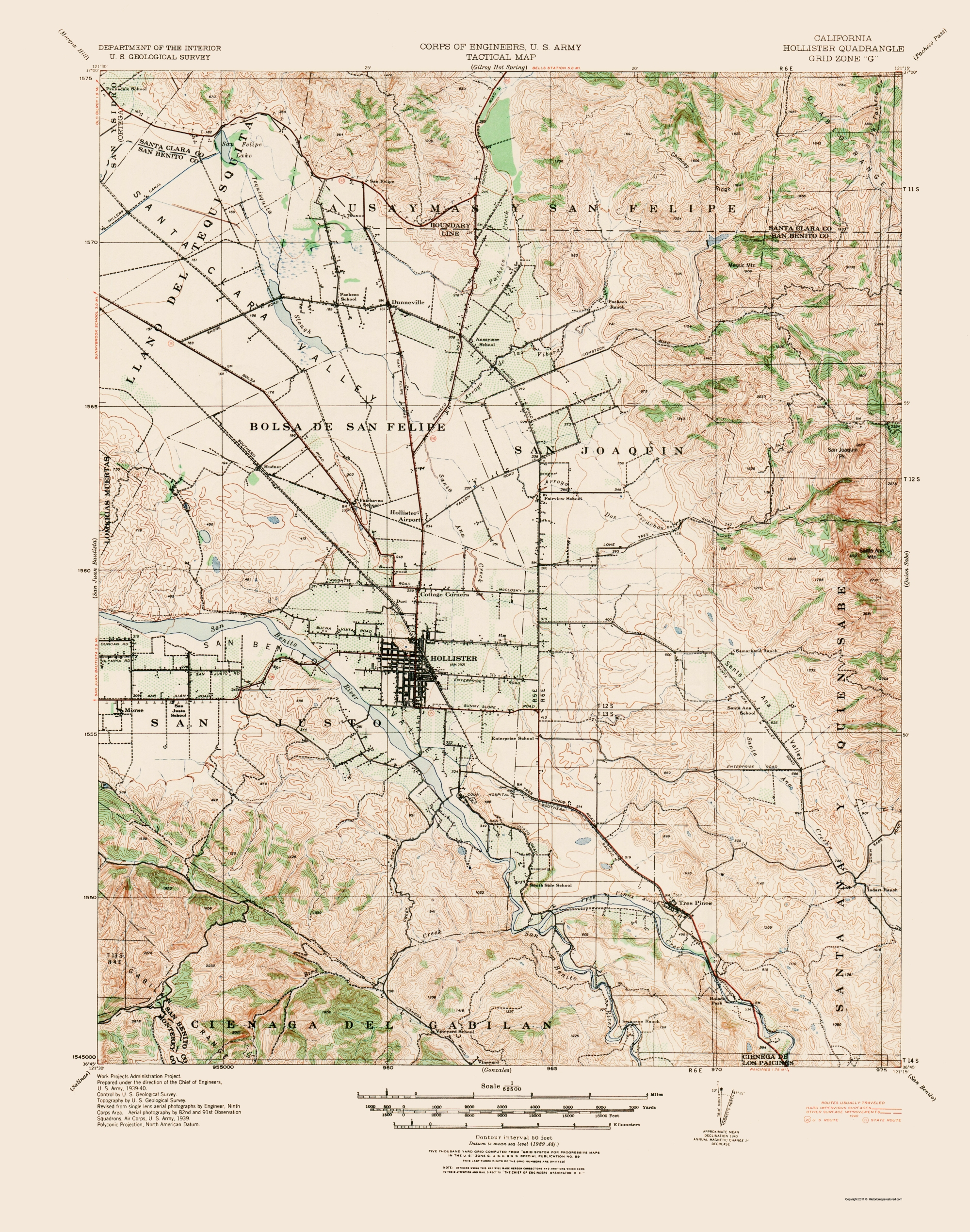 Old Topographical Map - Hollister California 1940 - Where Is Hollister California At On A Map