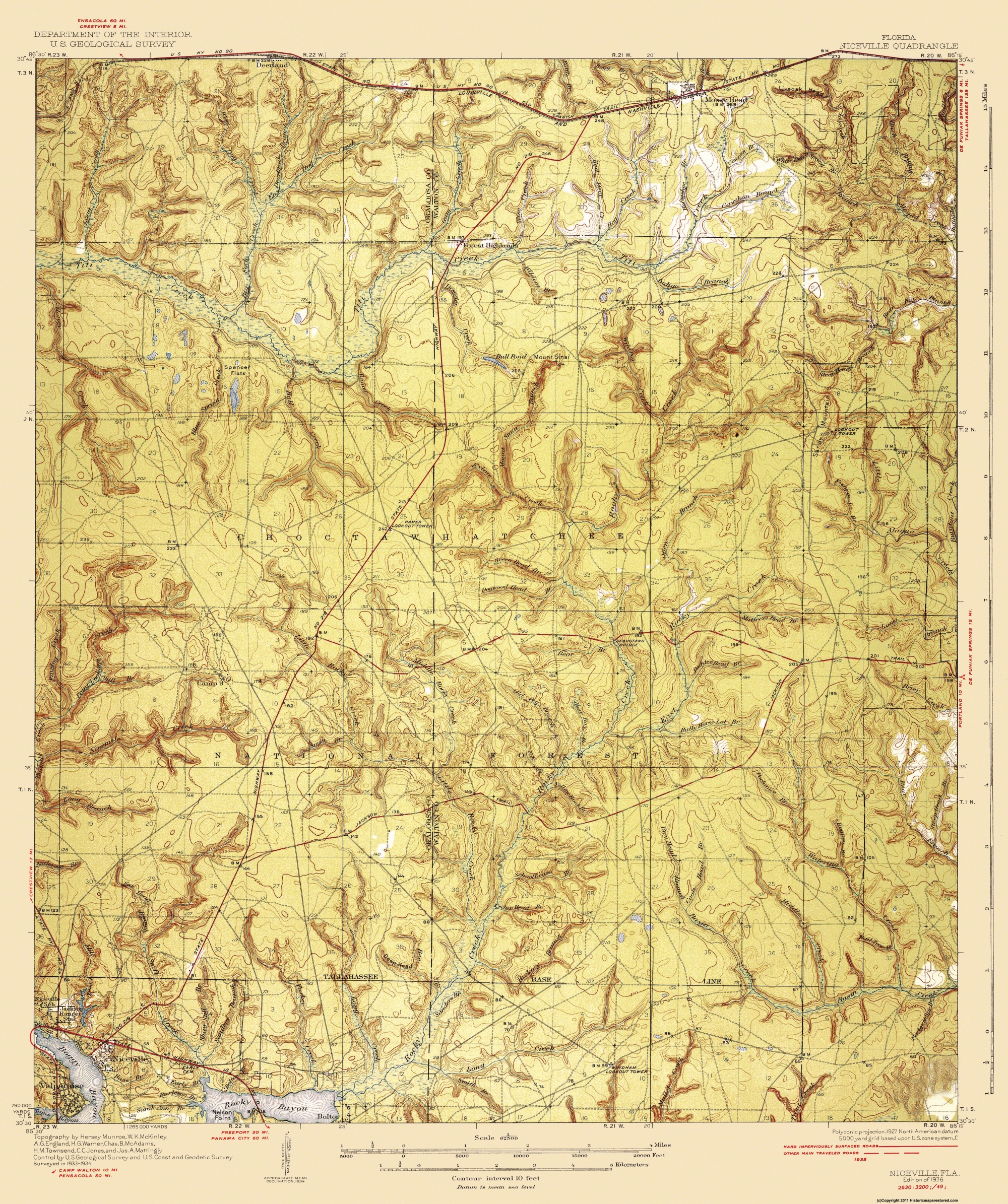 Old Topographical Map - Niceville Florida 1936 - Niceville Florida Map