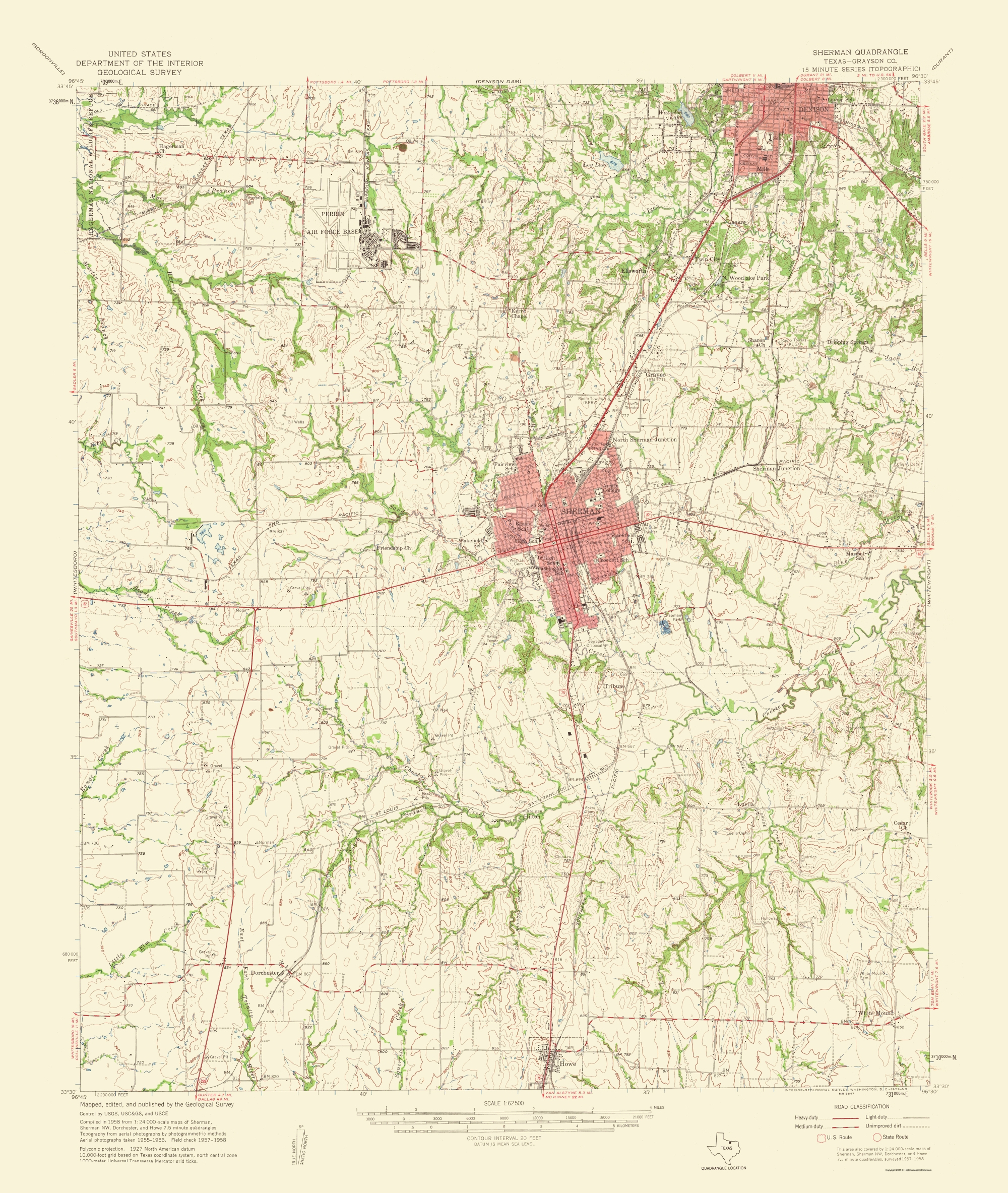 Old Topographical Map - Sherman Texas 1959 - Sherman Texas Map